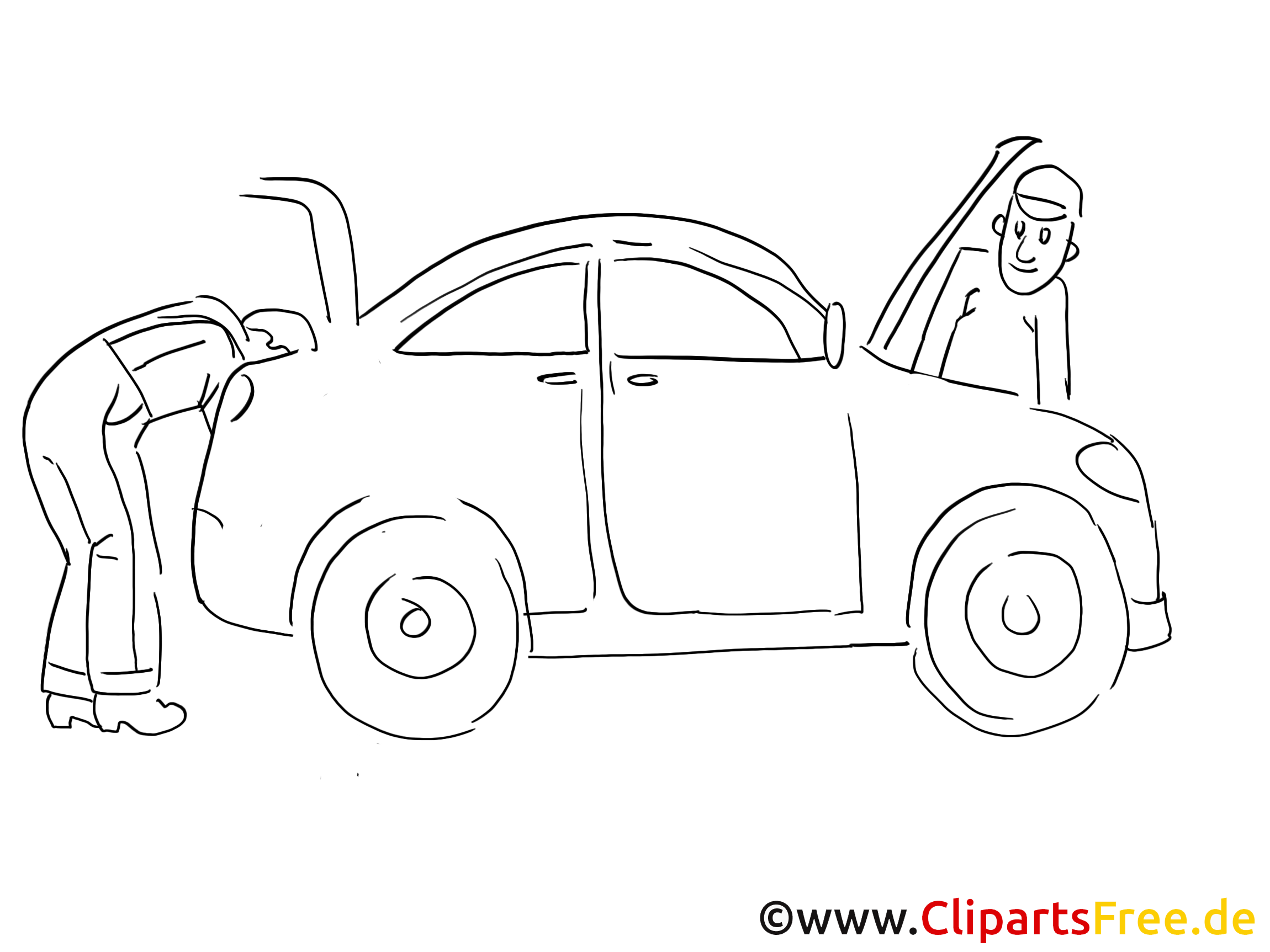 Repair body shop for vehicles clip art black and white, graphic, pic)