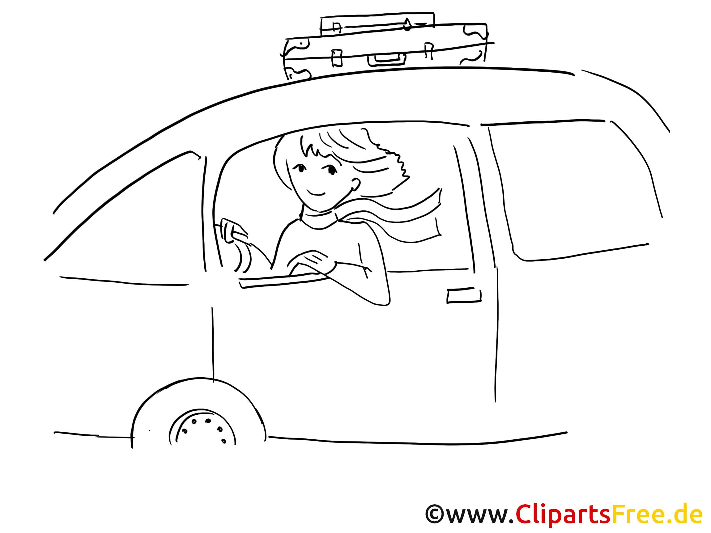 Women driving car clip art, graphic, pic, cartoon, comic free