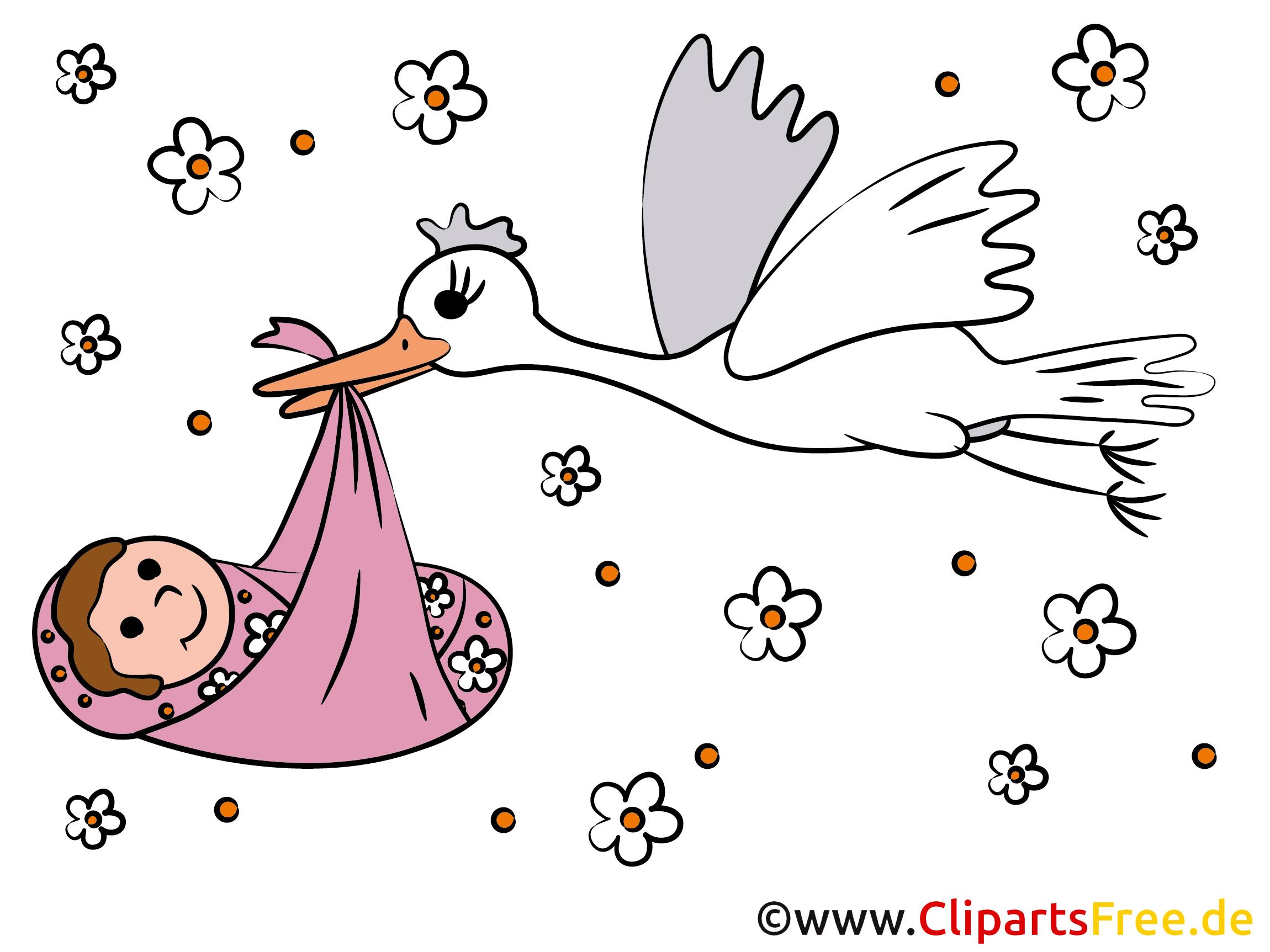 Storch und Baby Clipart   Bild