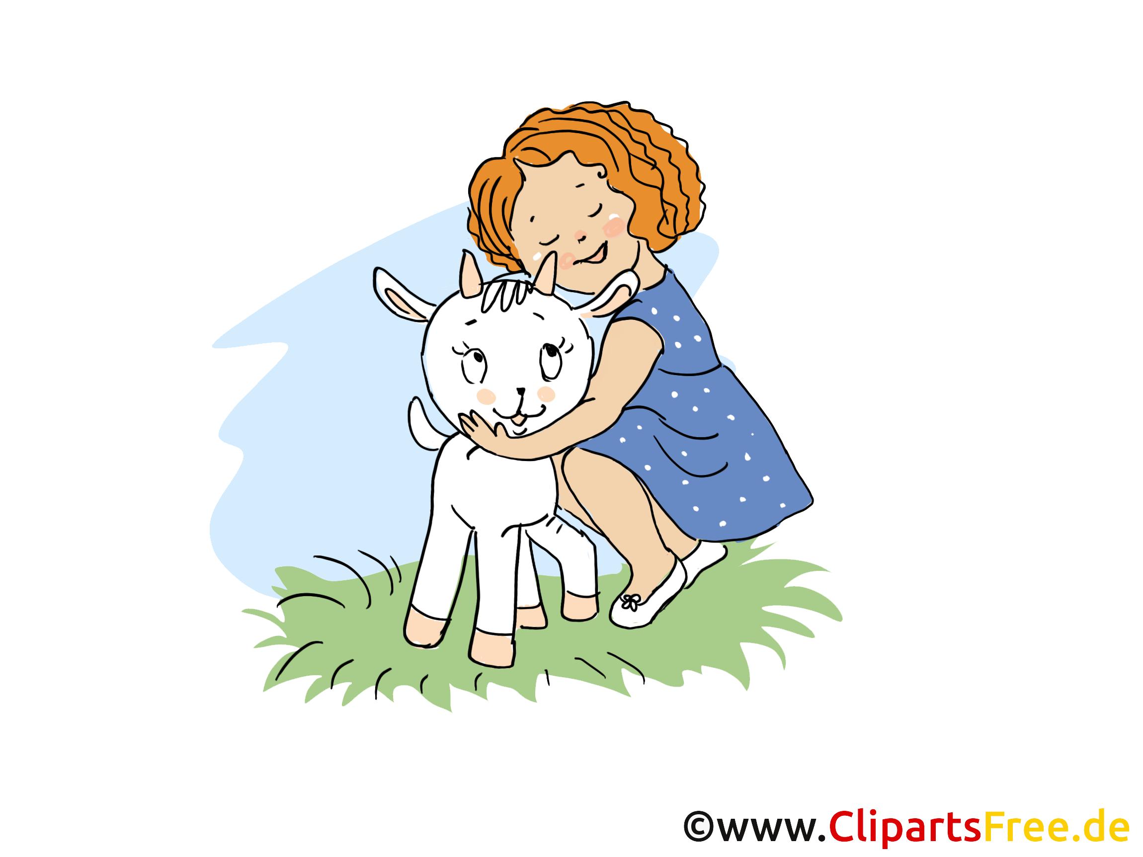 Mädchen mit Ziege Bild, Clipart, Cartoon, Grafik