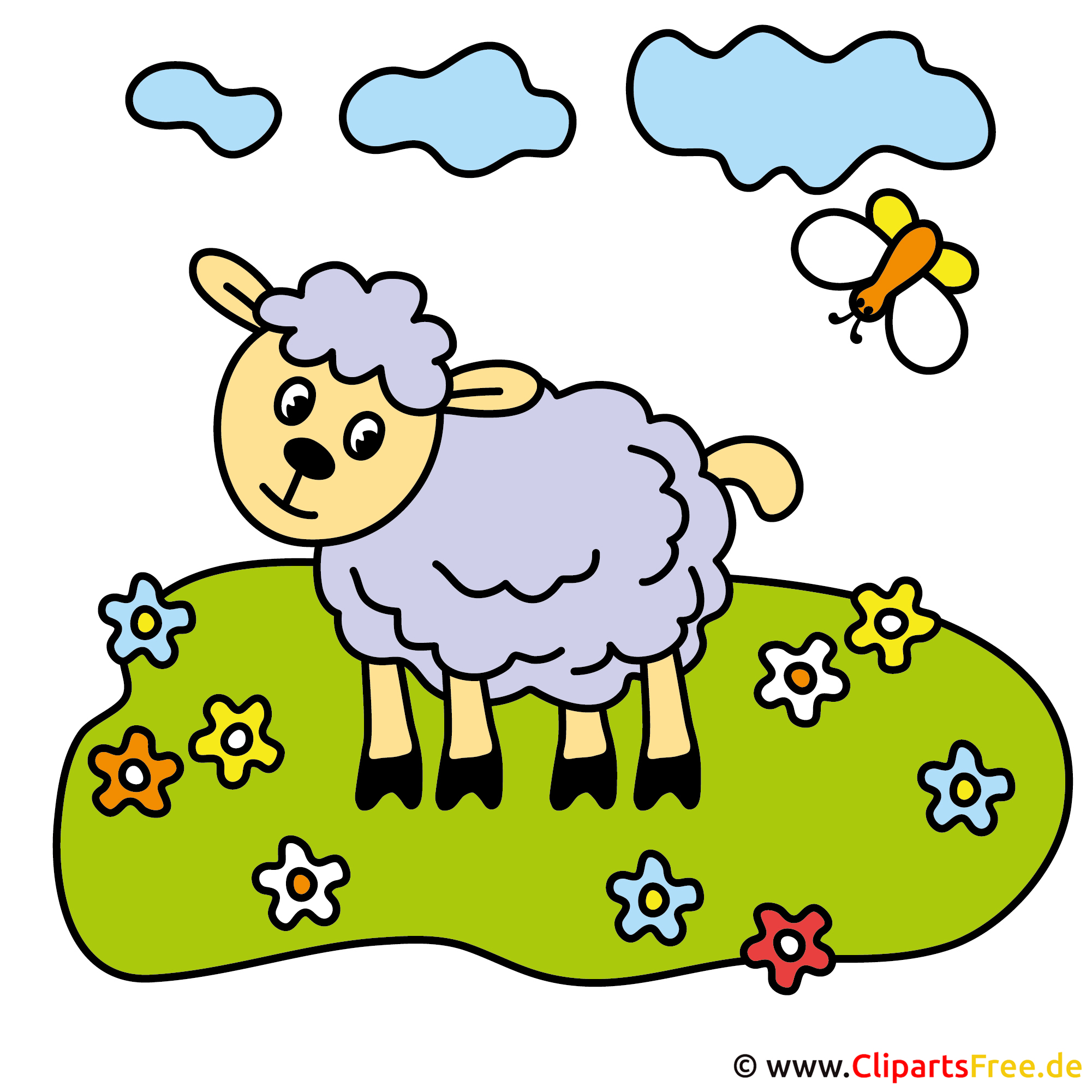 Schaf auf der Wiese Cartoon Bild kostenlos  Schaf auf der W...