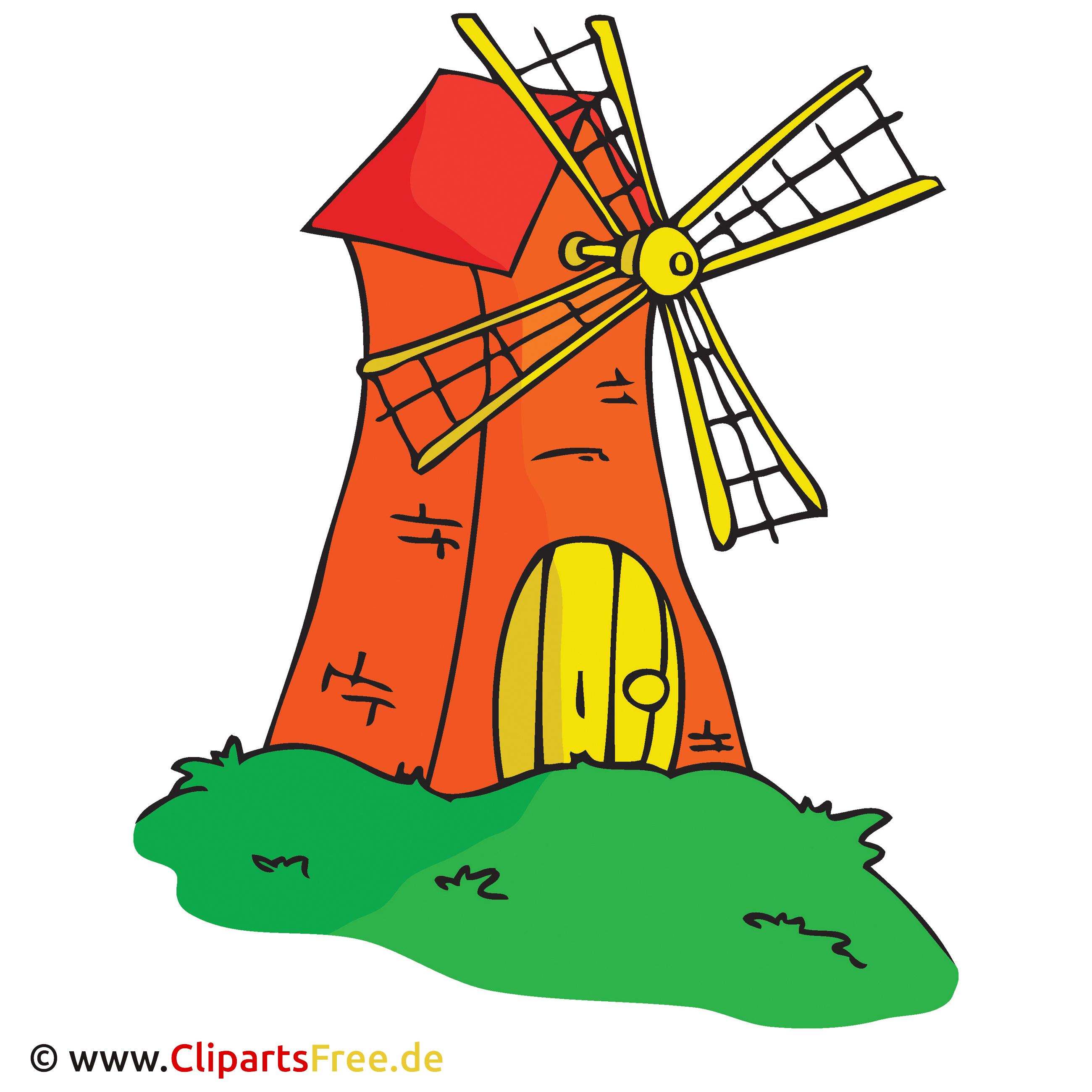 Windmühle Bild, Cartoon, Clipart, Grafik, Illustration