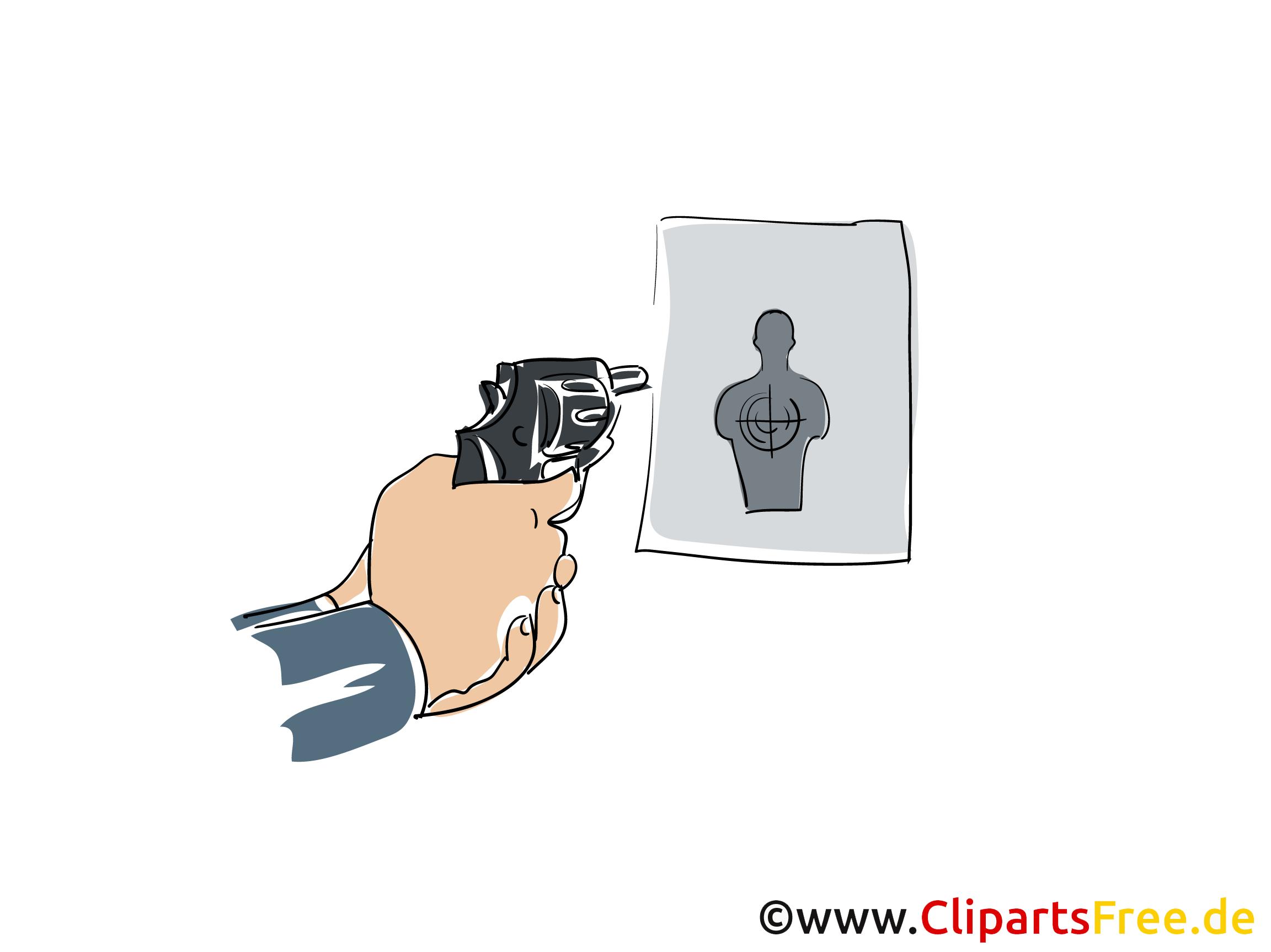 Schießübung Clipart, Bild, Buchillustration, Grafik, Cartoon, Comic