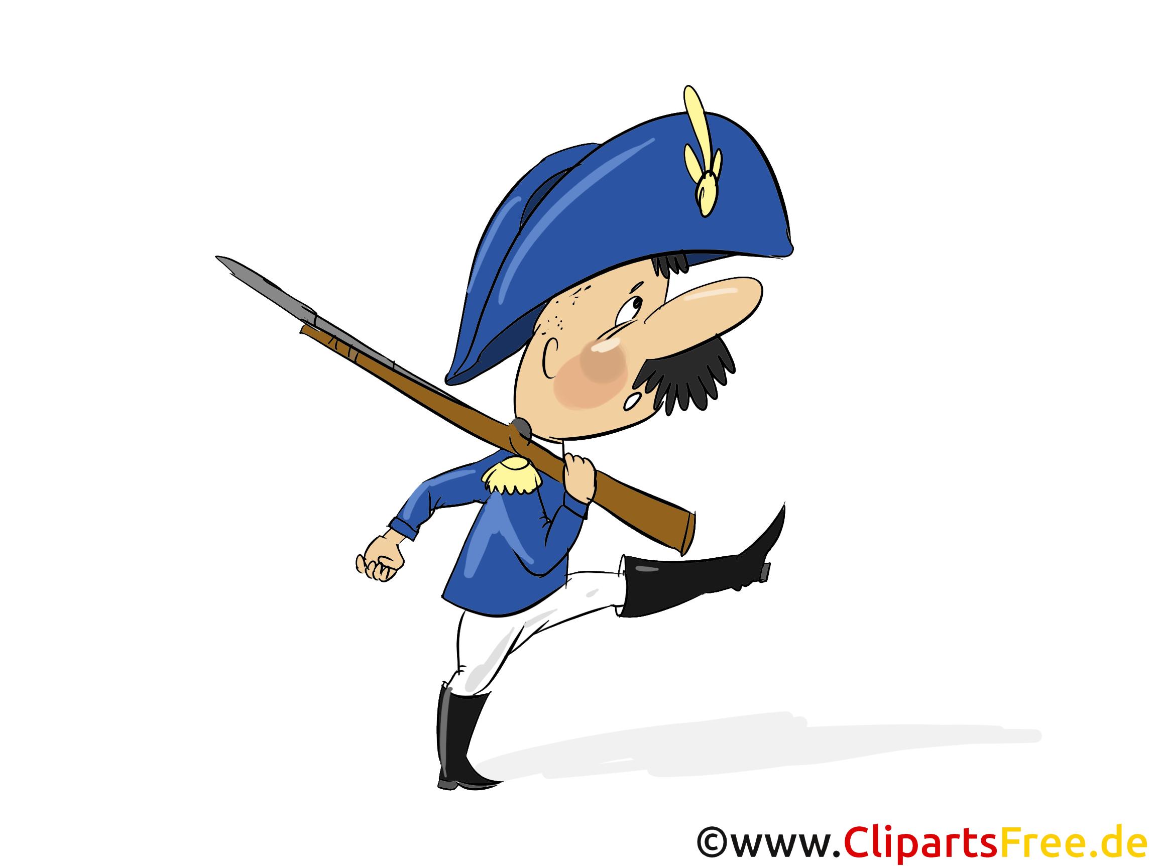 Soldat marschiert in alter Uniform Clipart, Bild, Illustration