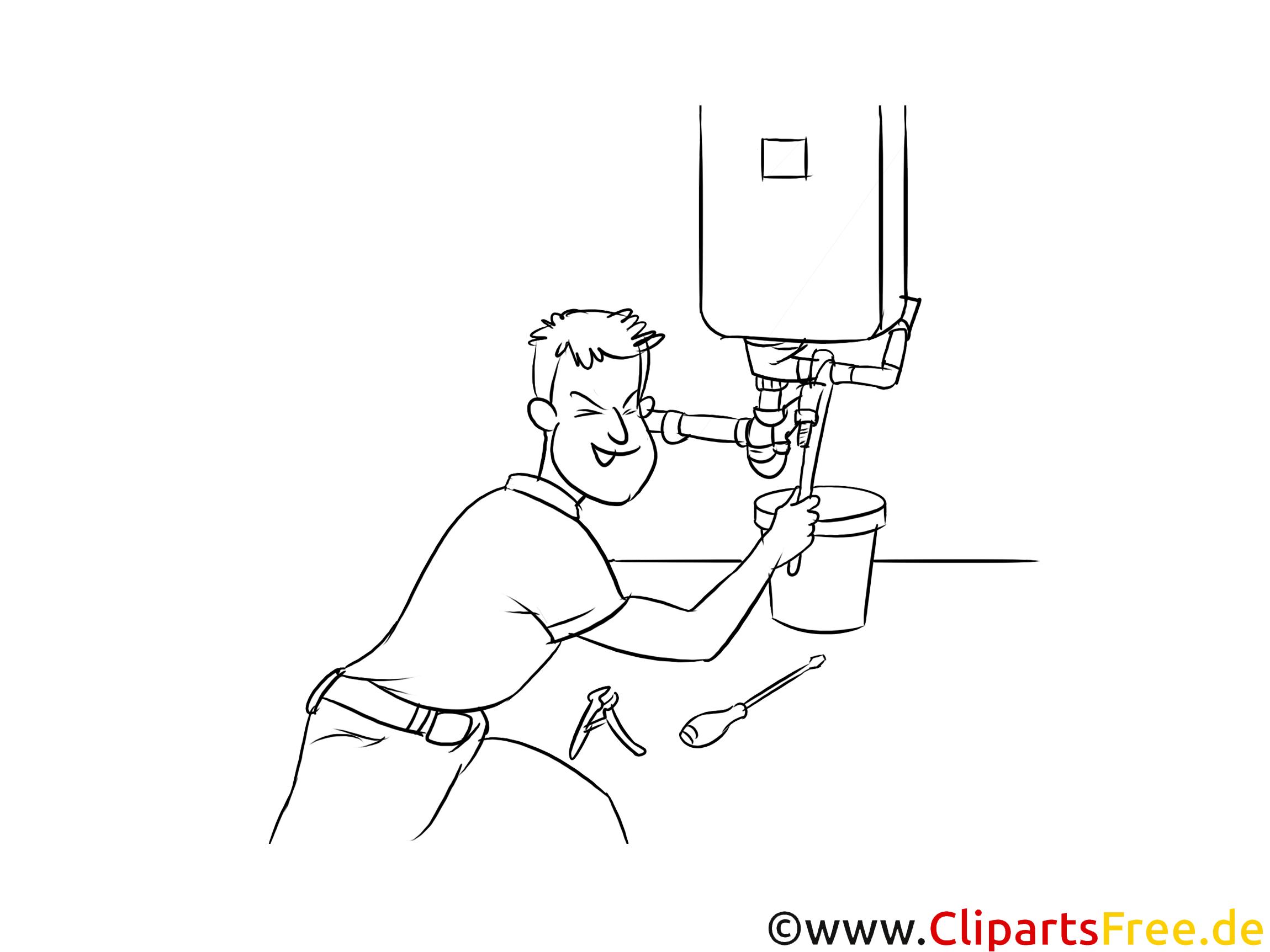 Anlagenmechaniker Sanitär- Heizungs- und Klimatechnik Clipart, Grafik, Bild schwarz-weiß