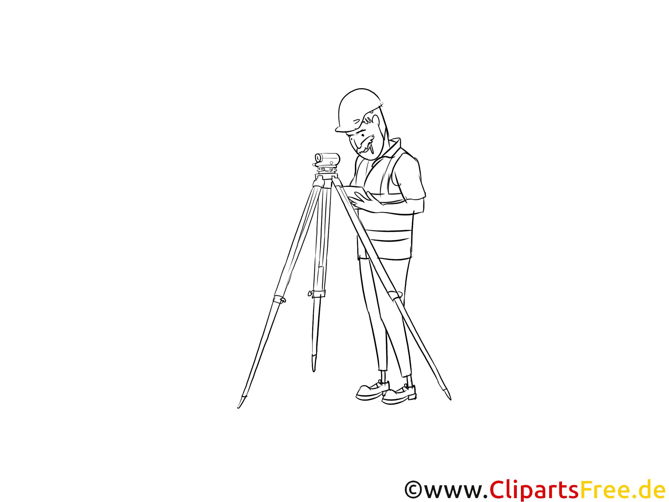 Ausbildung als Vermessungstechniker Clipart schwarz weiß