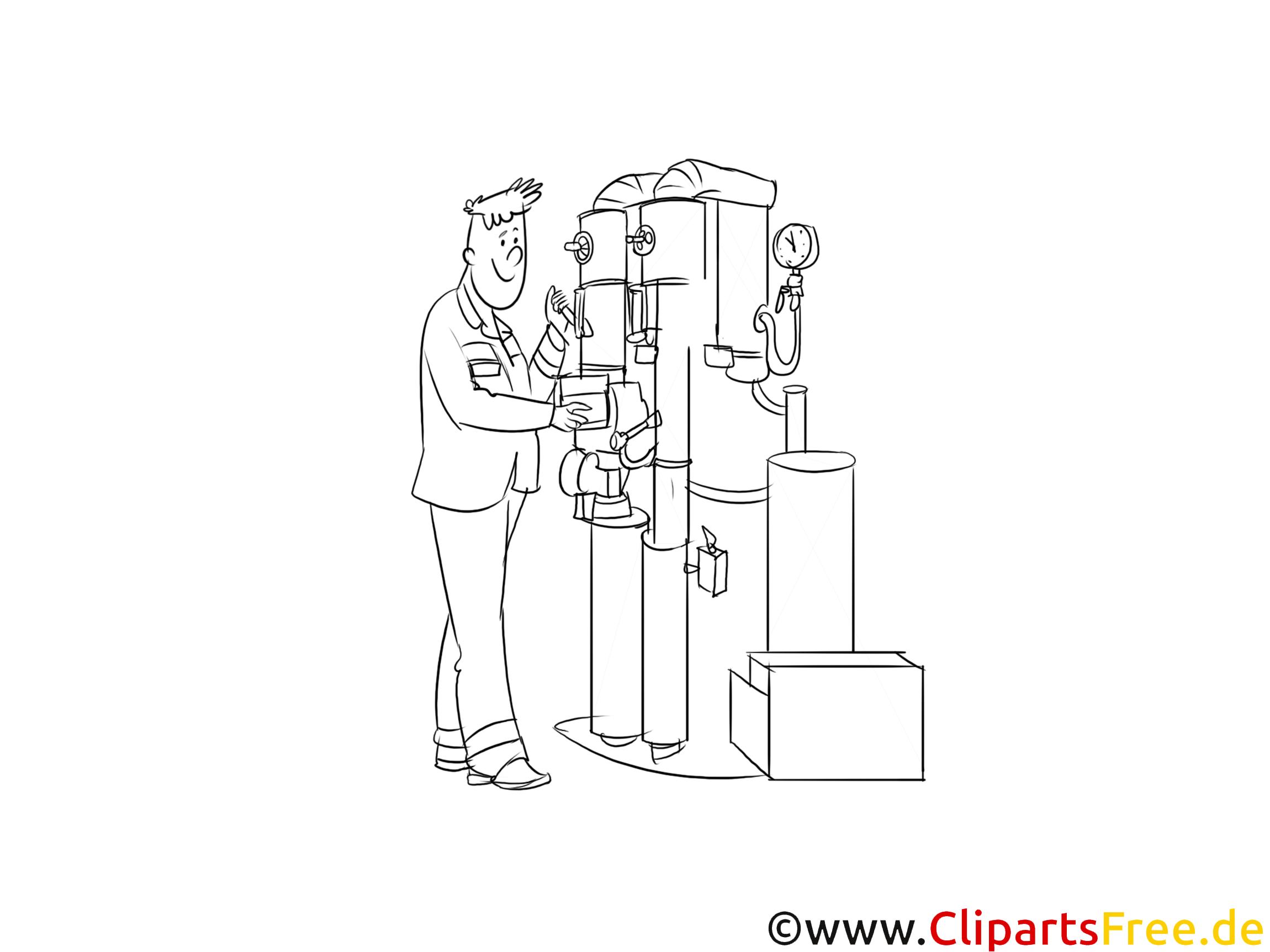 Ausbildung zum Anlagenmechaniker Clipart, Bild, Illustration schwarz-weiß