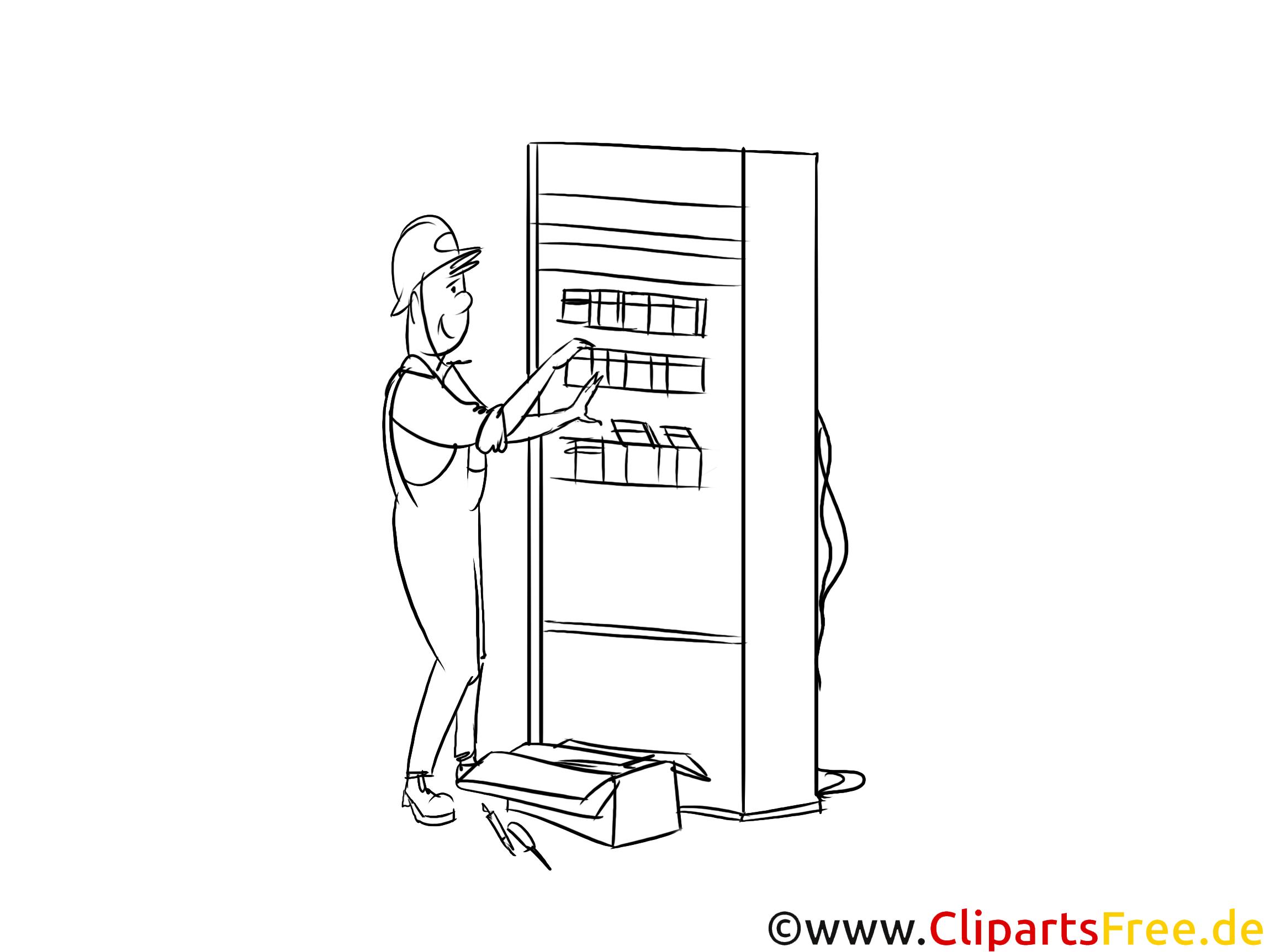 Automatenfachmann Clipart, Grafik, Bild schwarz-weiß
