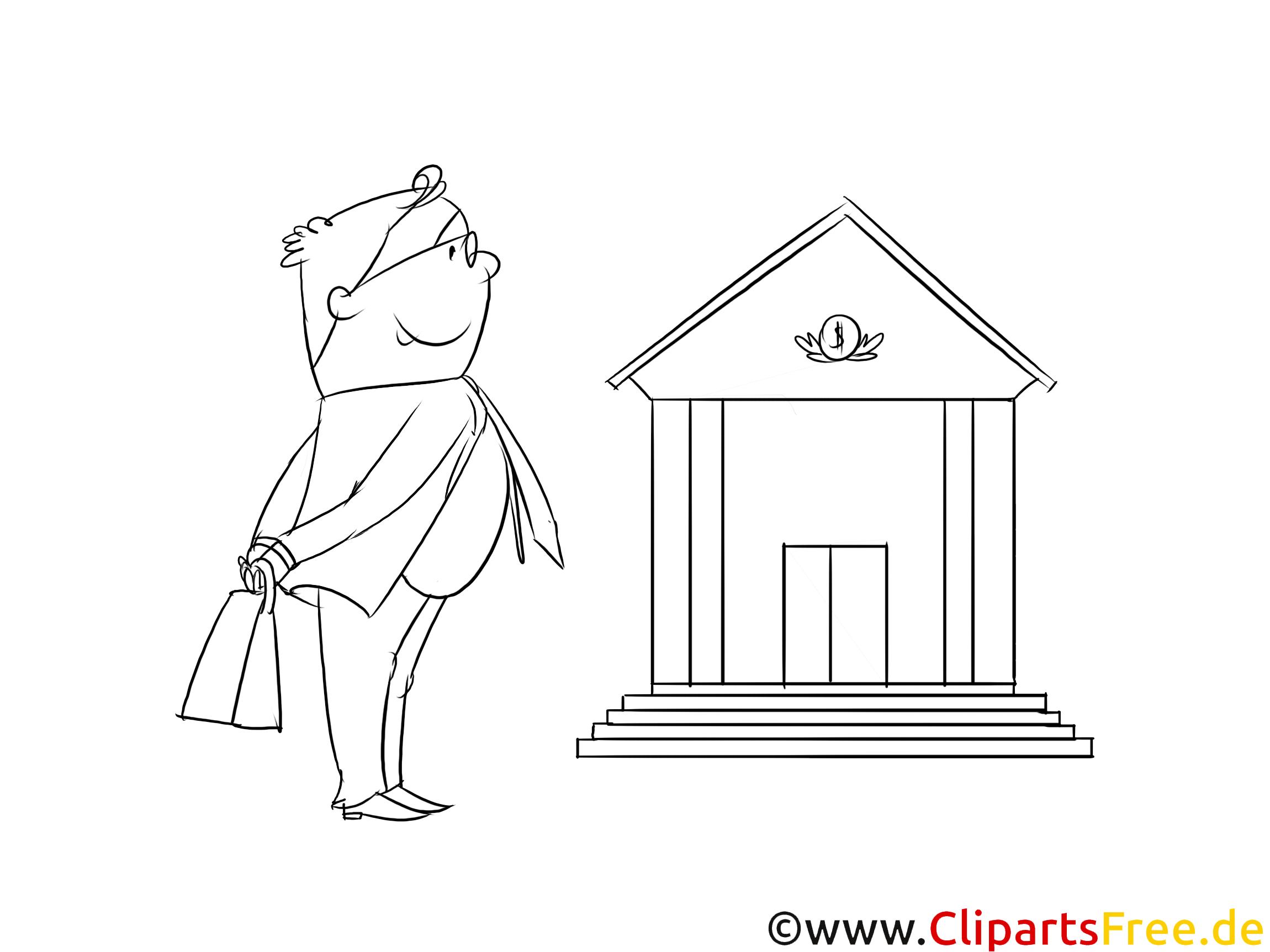 Bank- und Versicherungskaufmann Clipart, Grafik, Bild schwarz-weiß