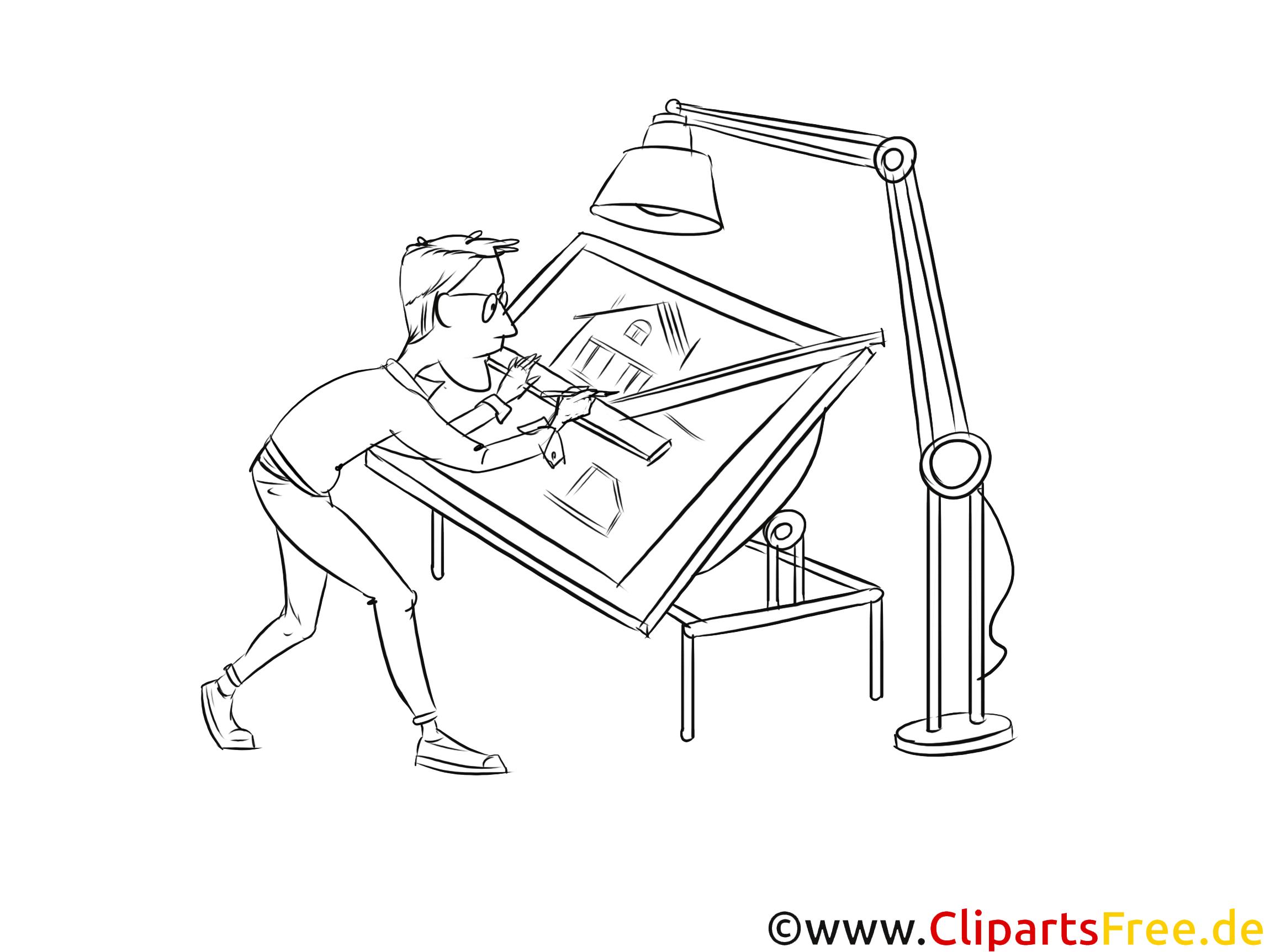 Bauzeichner Clipart schwarz weiß zum Thema Ausbildungsberufe