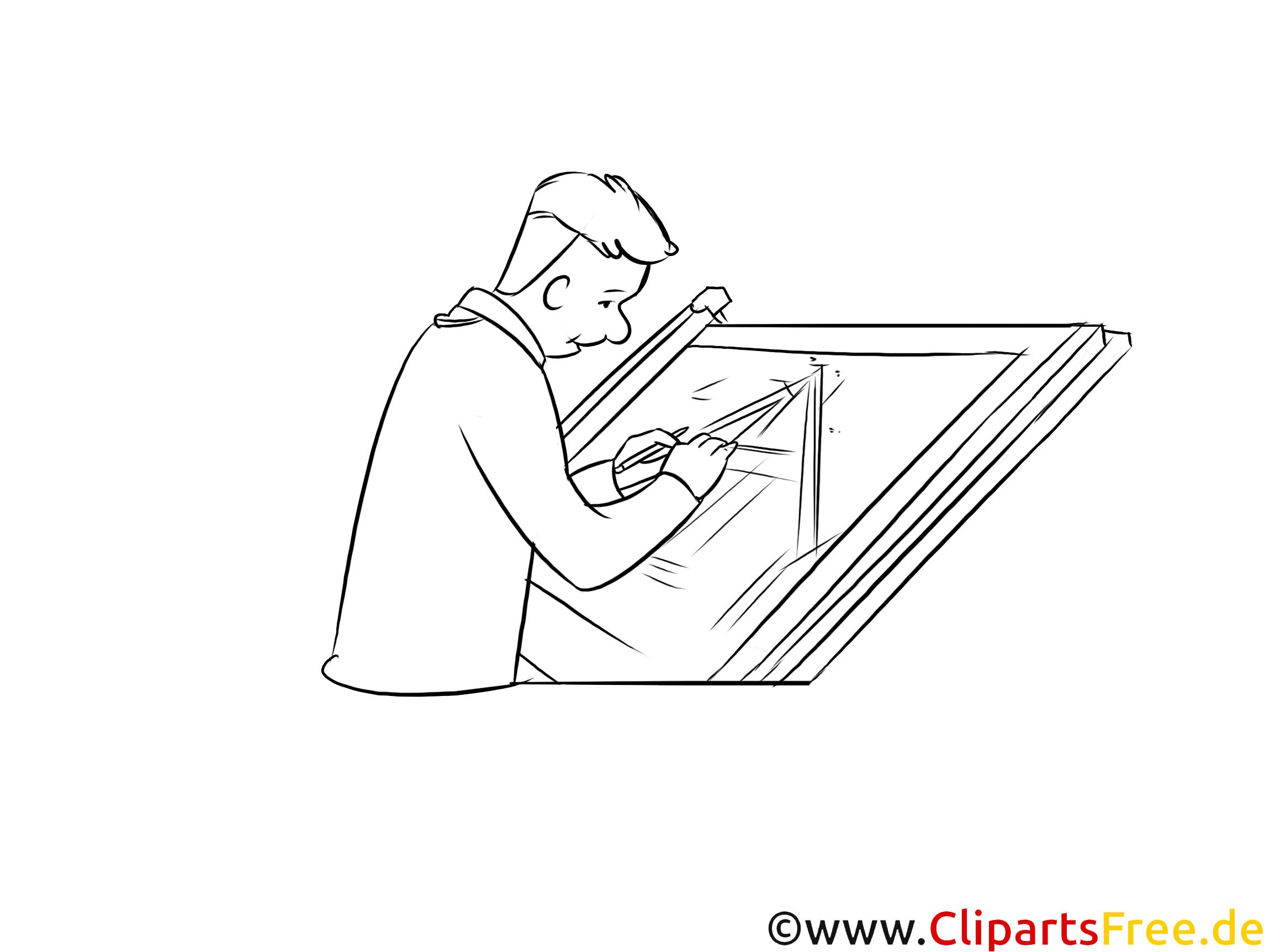Bauzeichner Grafik zum Drucken schwarzweiß
