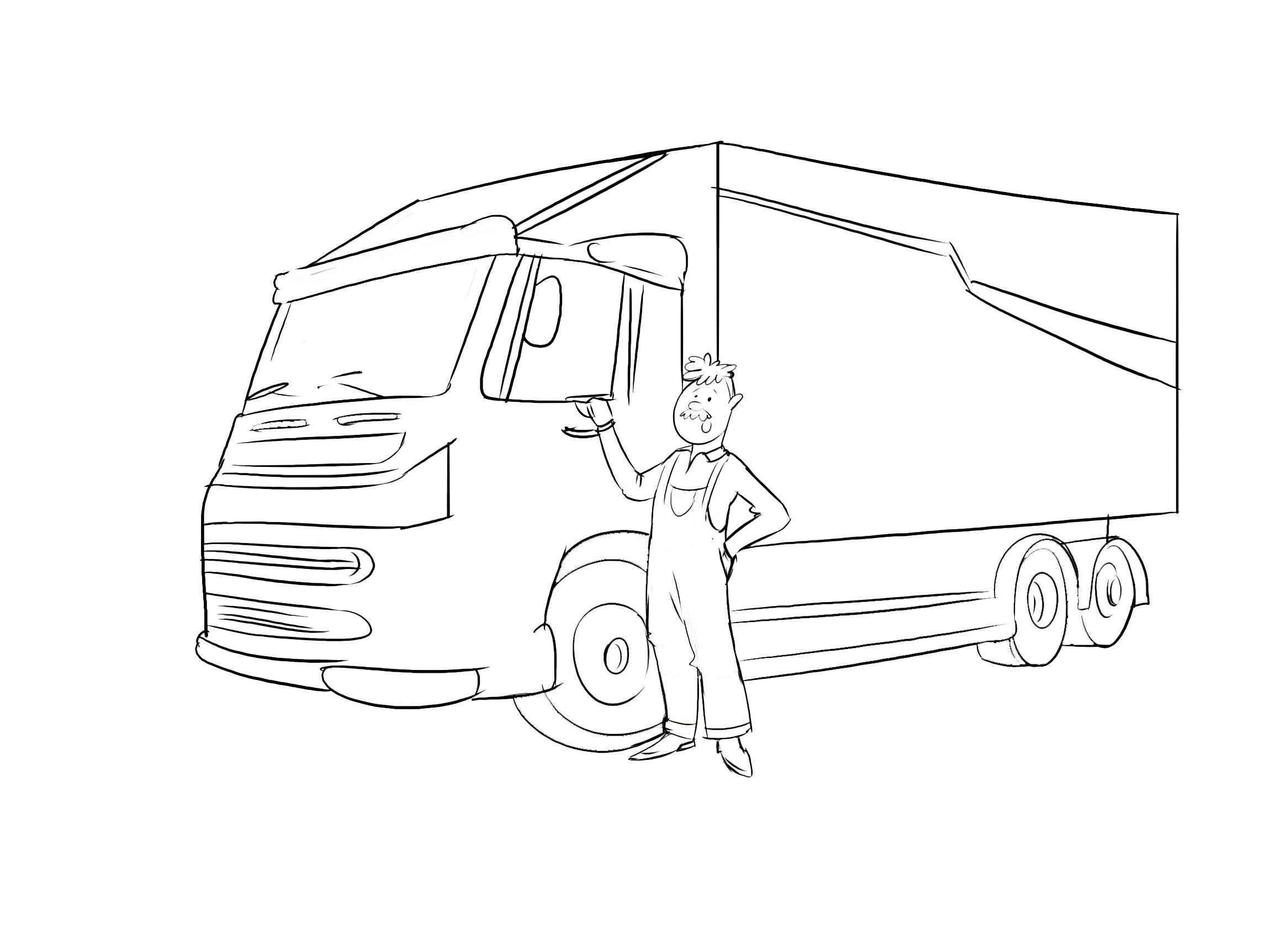 Berufskraftfahrer, LKW-Fahrer Clipart Schwarzweiß kostenlos