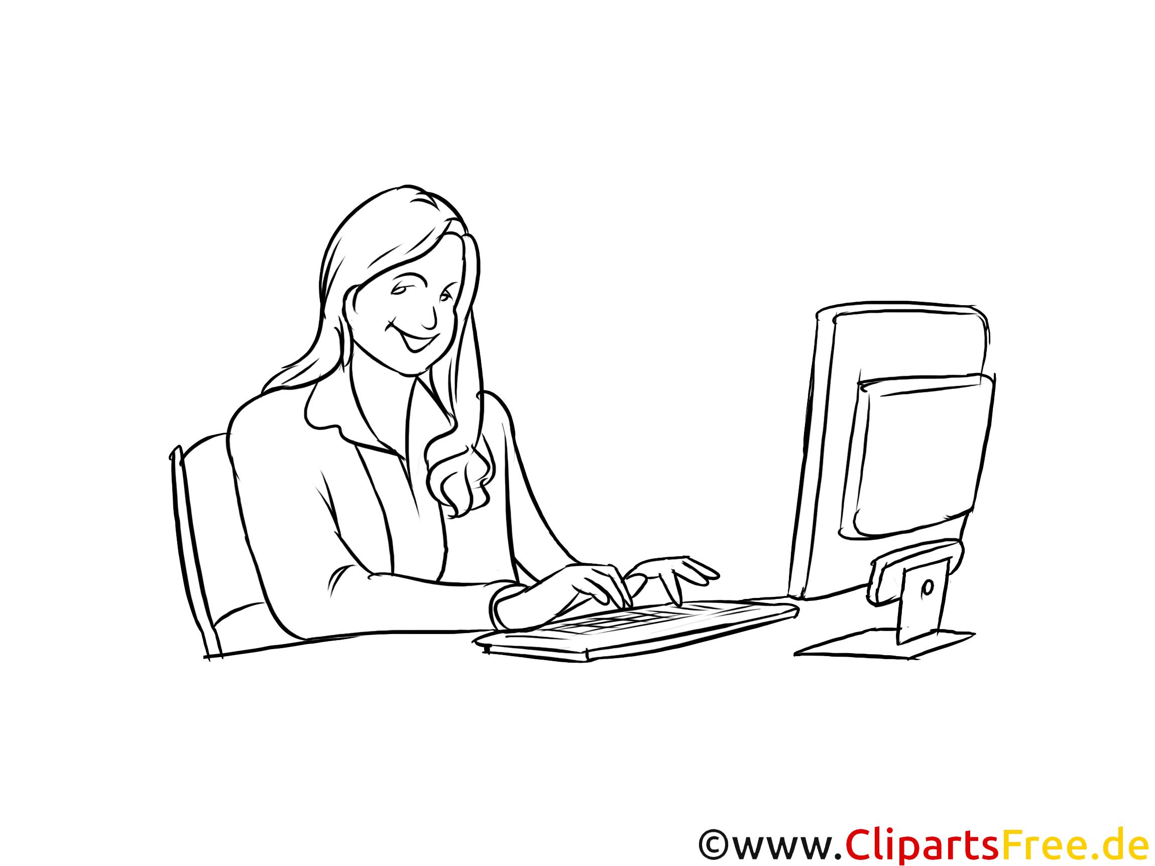 Bürokauffrau, Bürokaufmann Clipart, Grafik, Bild schwarz-weiß