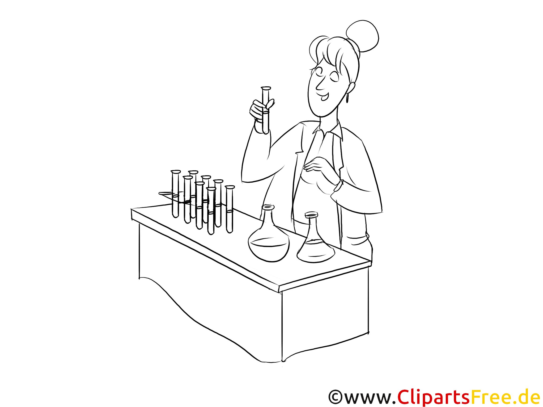 Chemielaborantin Clipart, Grafik, Bild schwarz-weiß