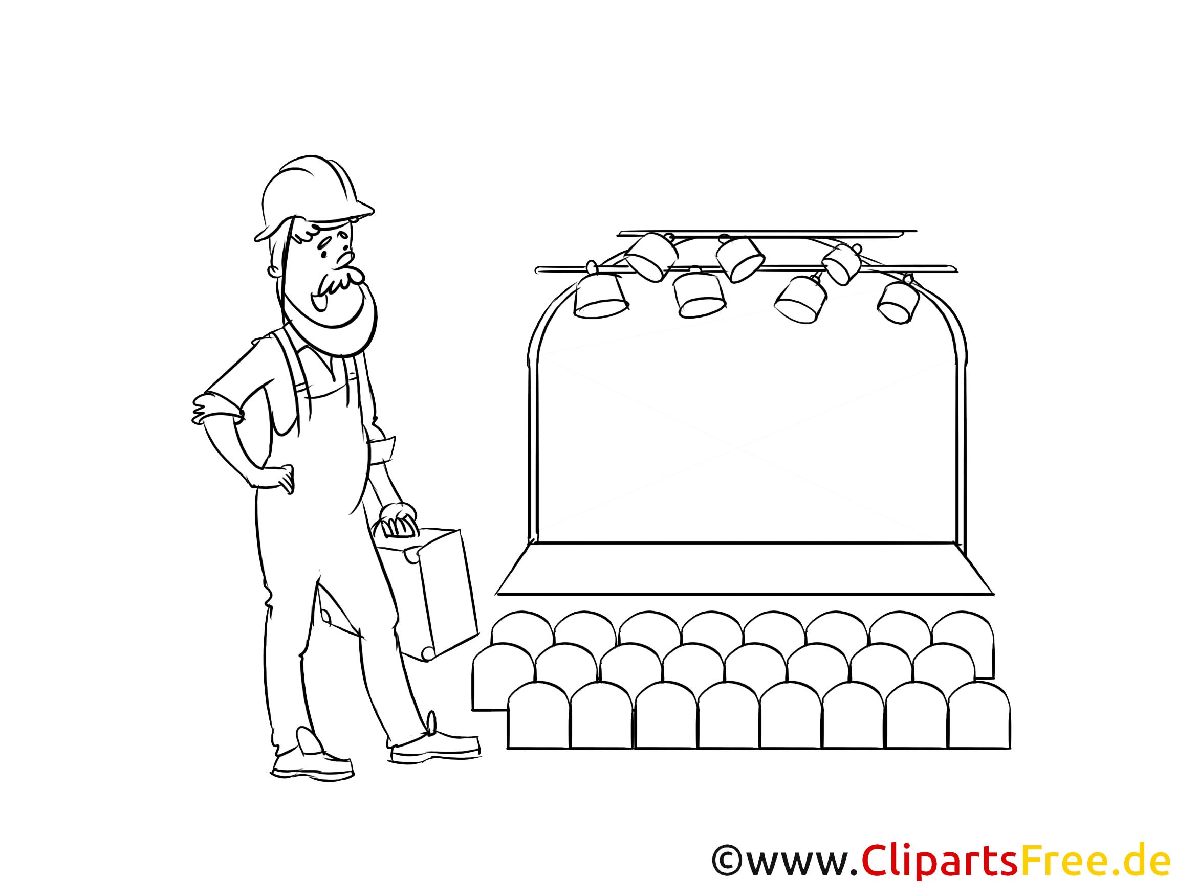 Clipart Schwarz und Weiß Fachkraft für Veranstaltungstechnik