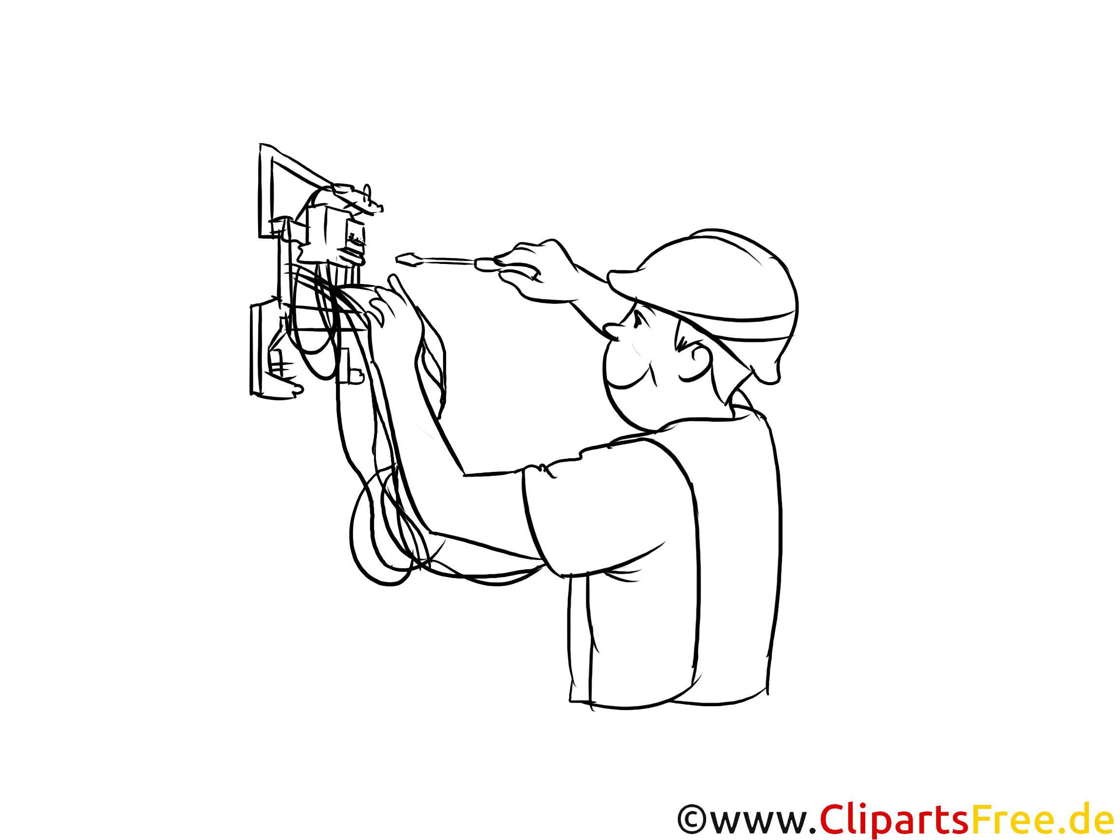 Elektroniker Clipart, Grafik, Bild schwarz-weiß