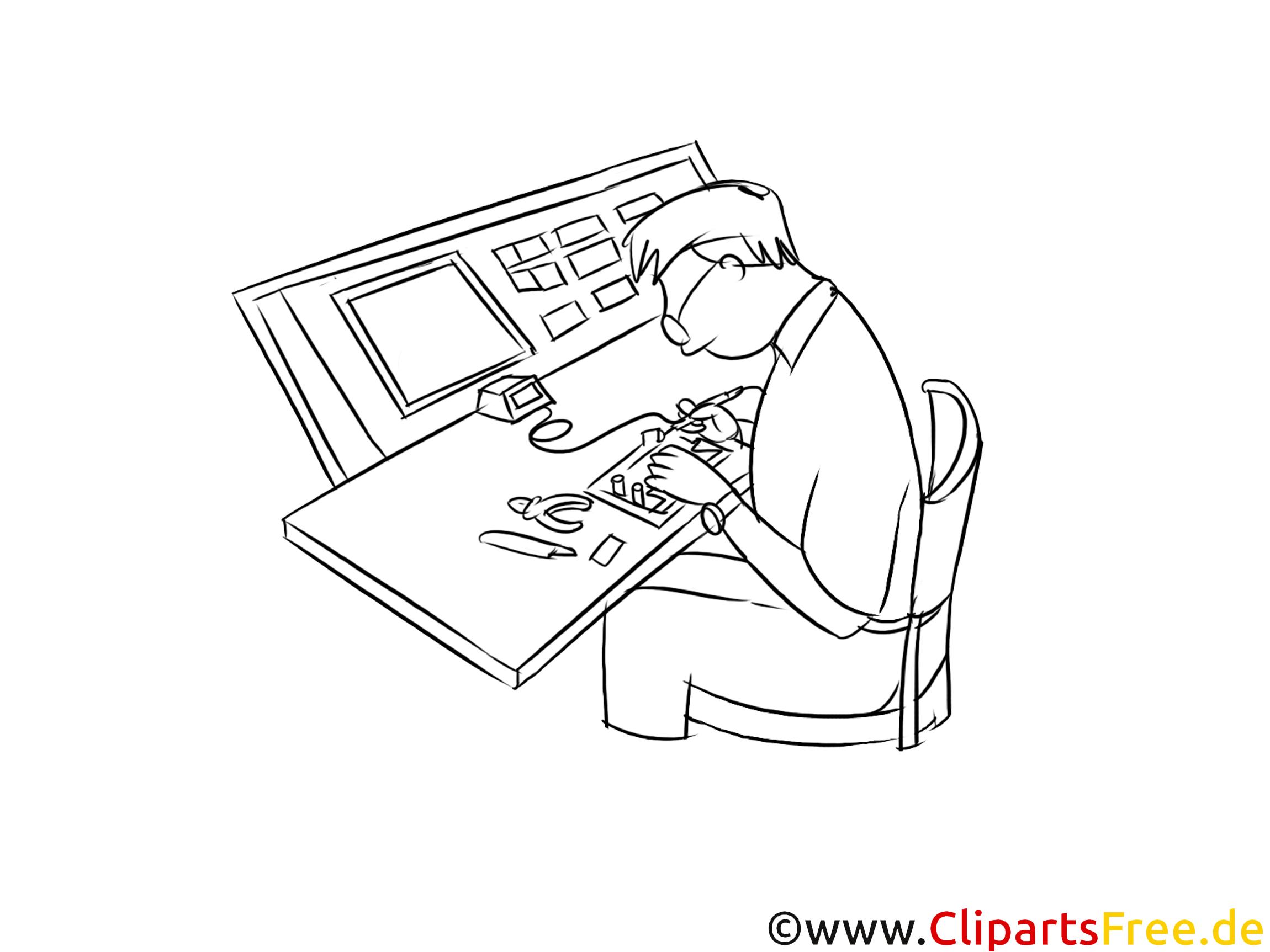 Elektroniker für Informations- und Systemtechnik schwarz weiß Clipart