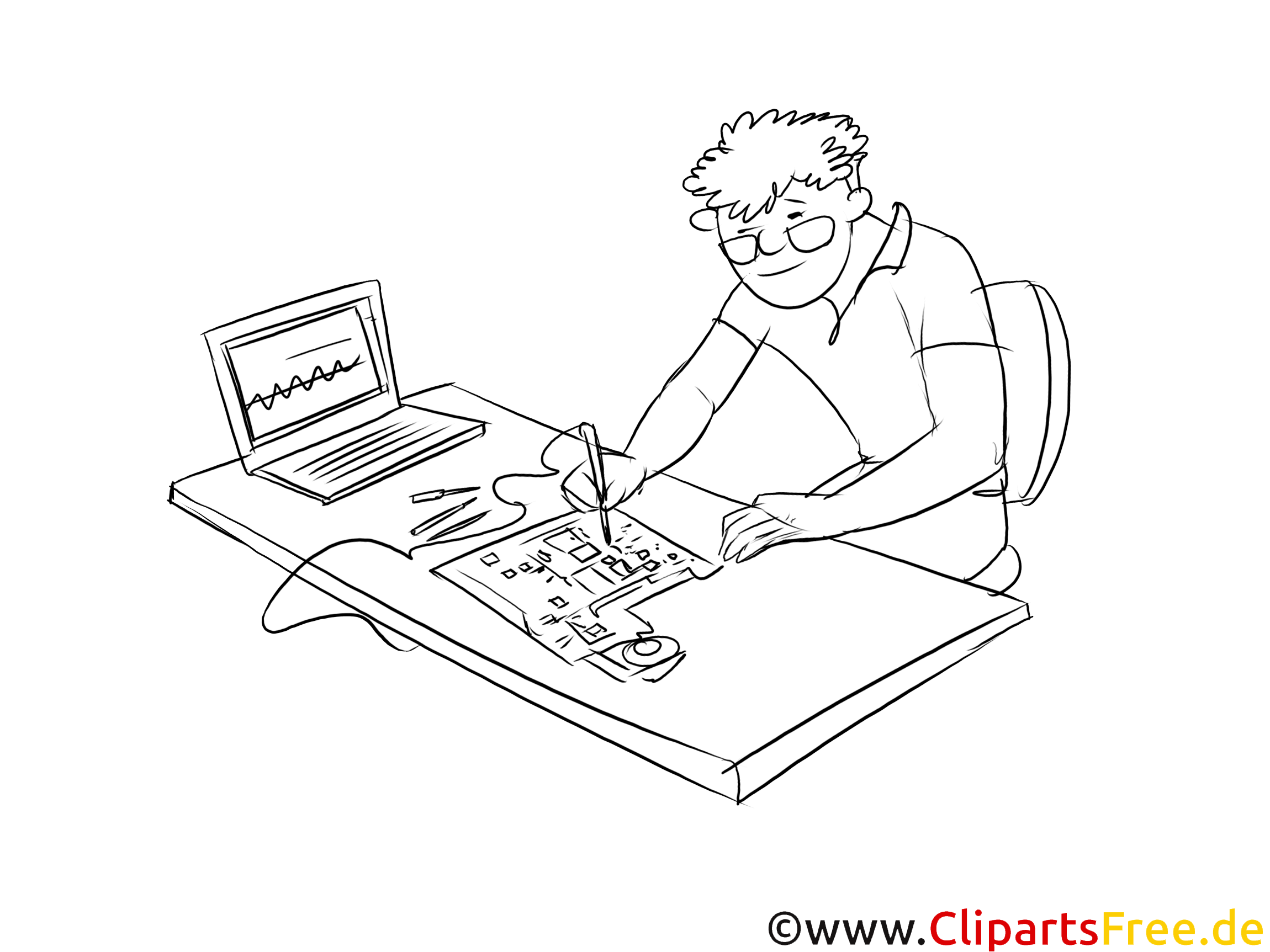 Elektrotechniker Clipart, Grafik, Bild schwarz-weiss