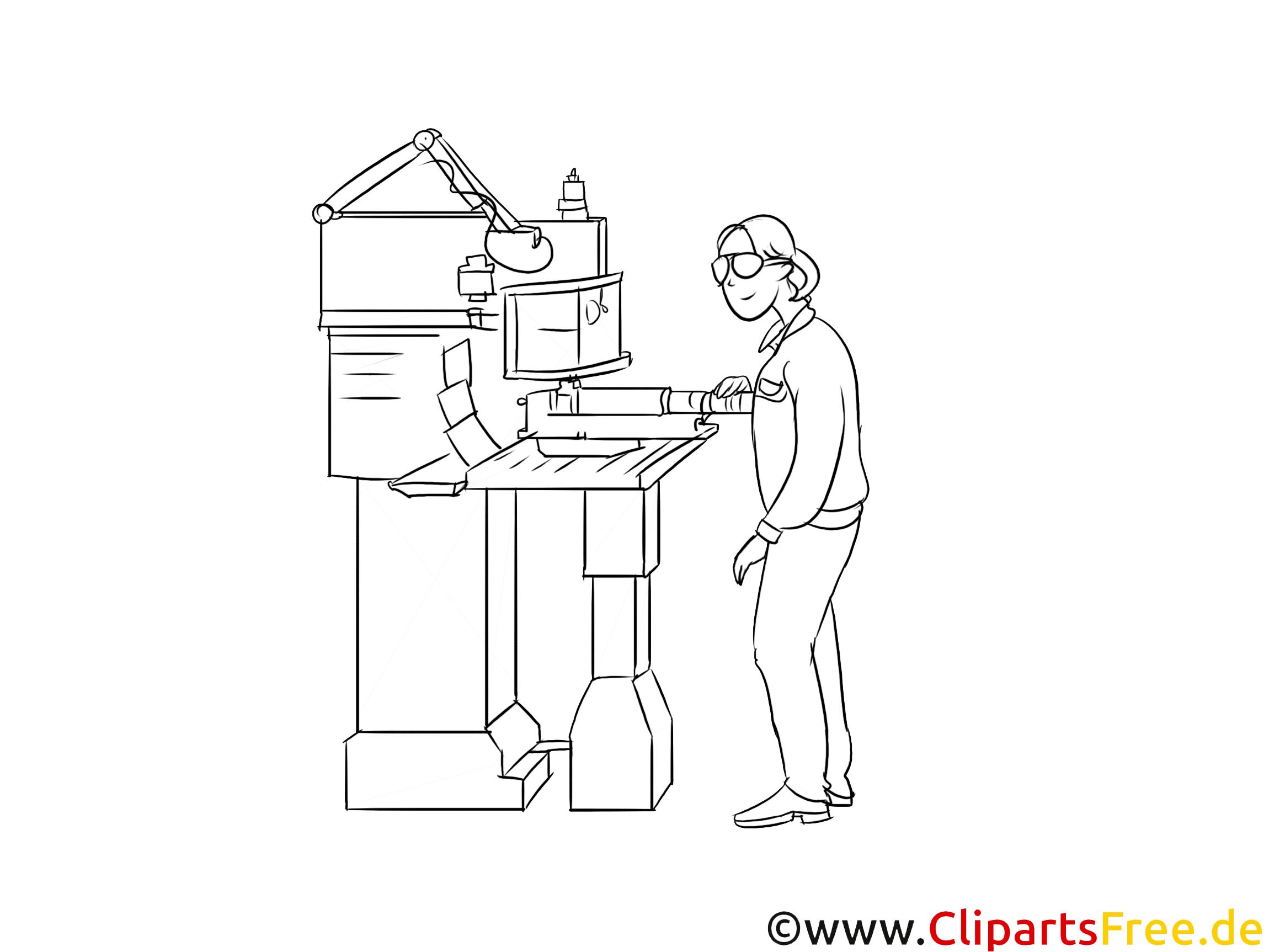Fachkraft für Metalltechnik Clipart, Grafik, Bild schwarz-weiß