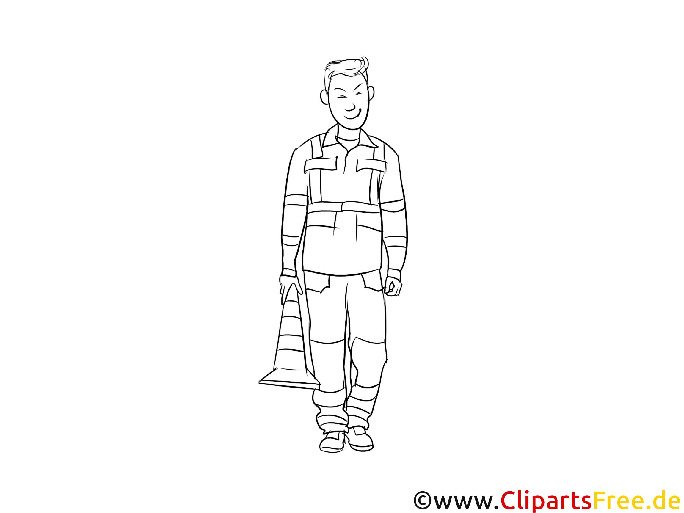 Fachkraft für Straßen- und Verkehrstechnik Clipart, Grafik, Bild schwarz-weiß
