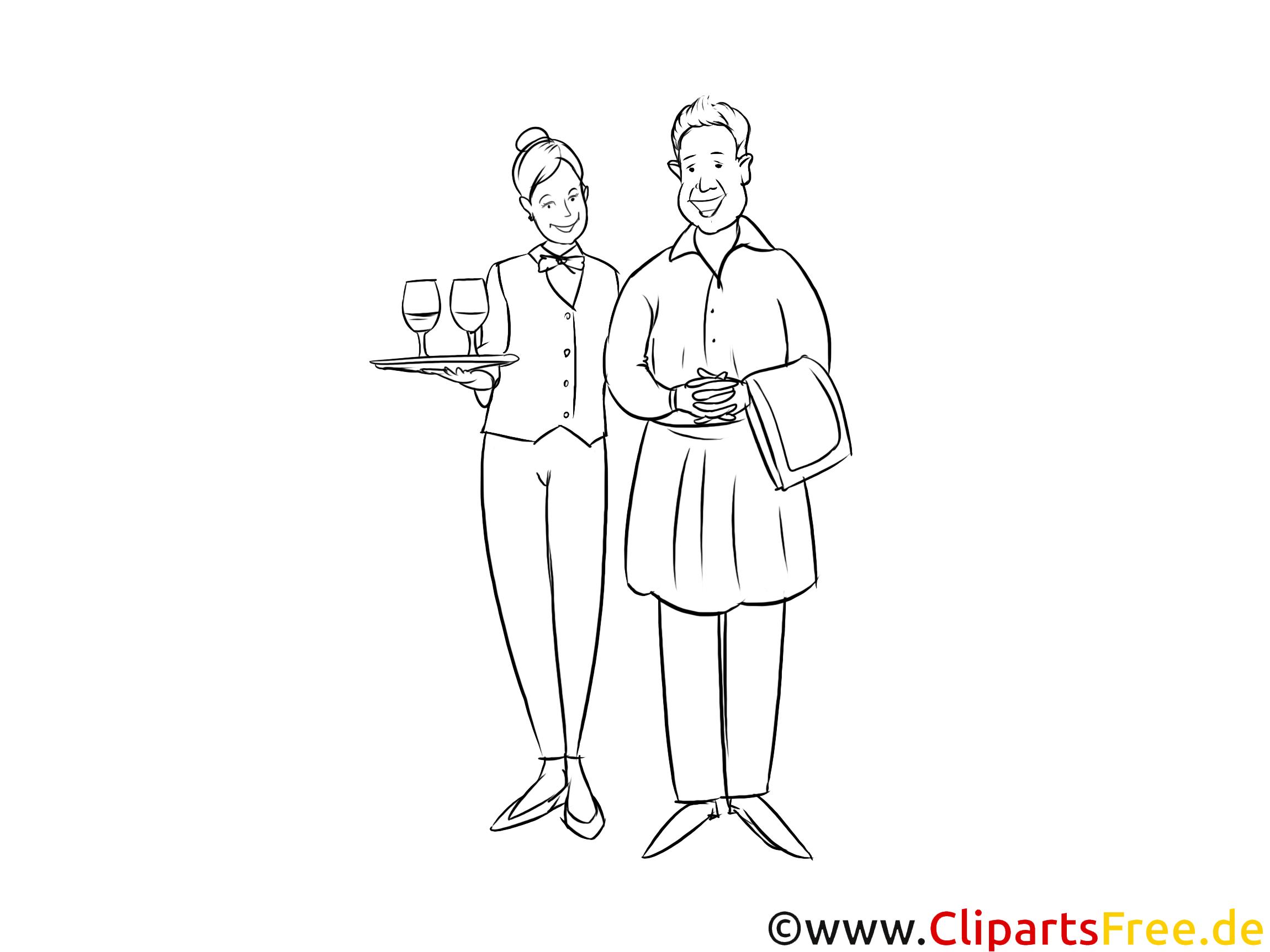 Fachkraft im Gastgewerbe Ausbildungsberuf schwarz-weiße Strichzeichnung