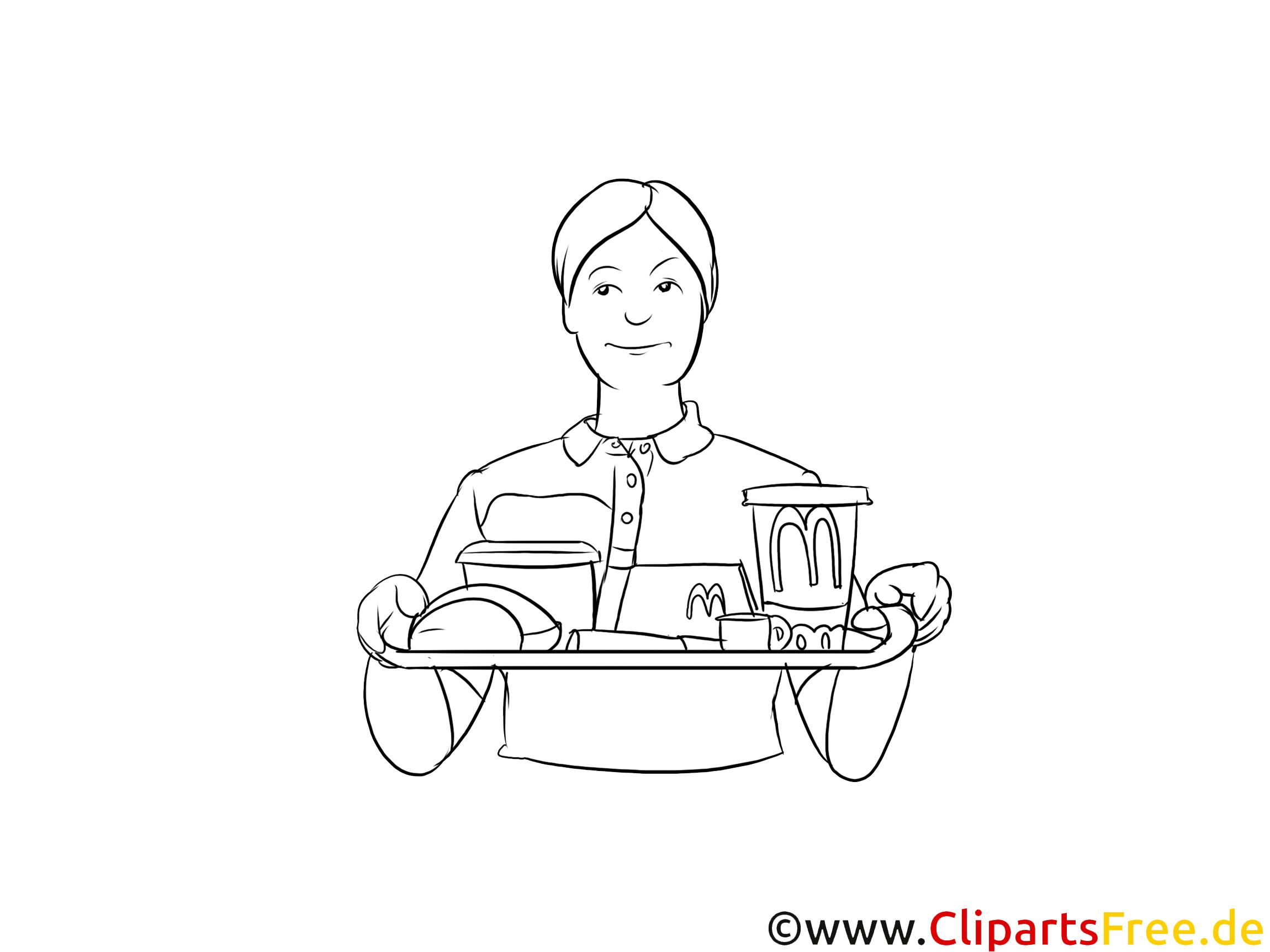 Fachmann für Systemgastronomie Clipart, Grafik, Bild schwarz-weiß