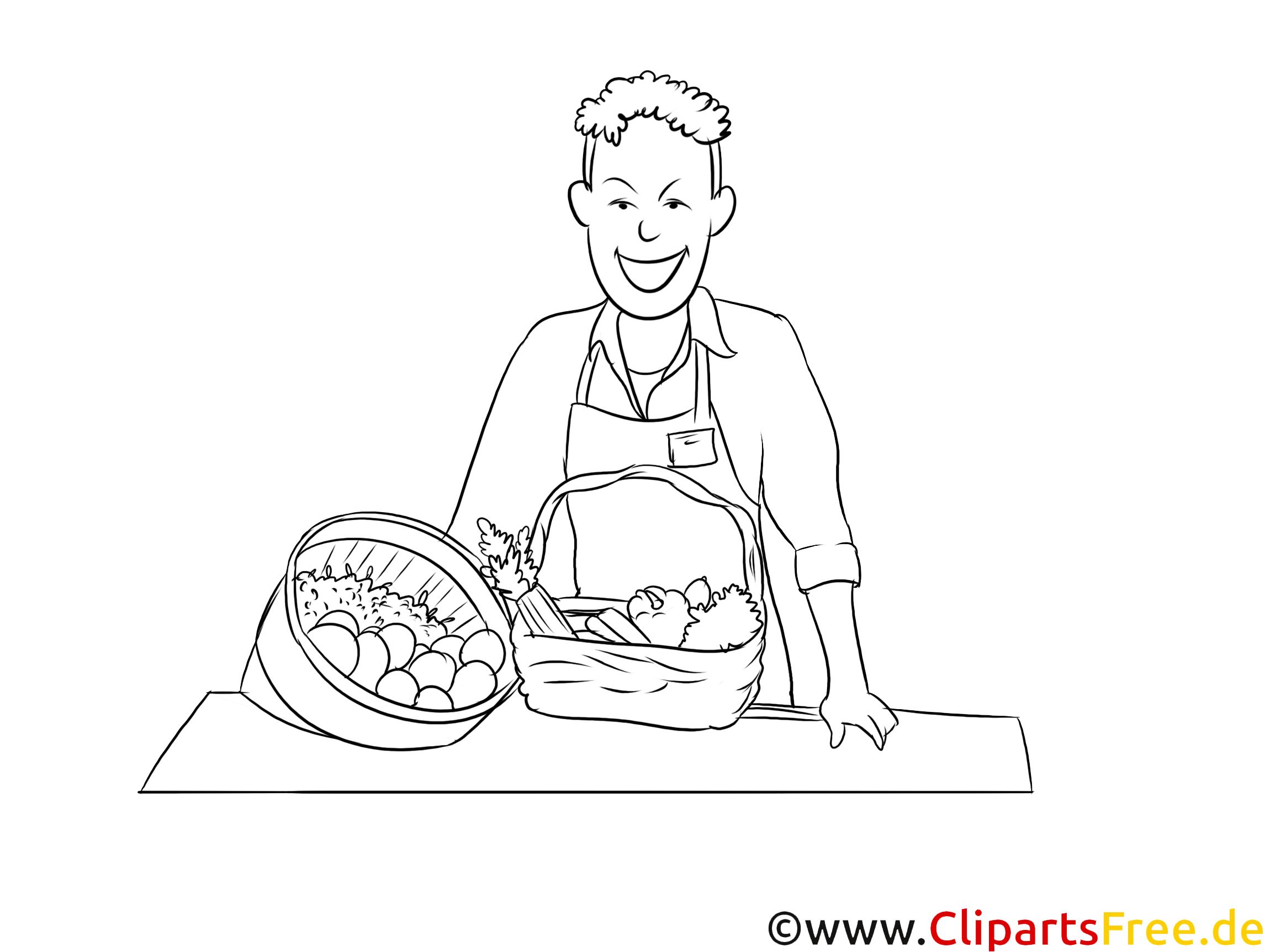 Fachverkäufer im Lebensmittelhandwerk druckbare schwarz-weiße Cliparts, Grafiken kostenlos