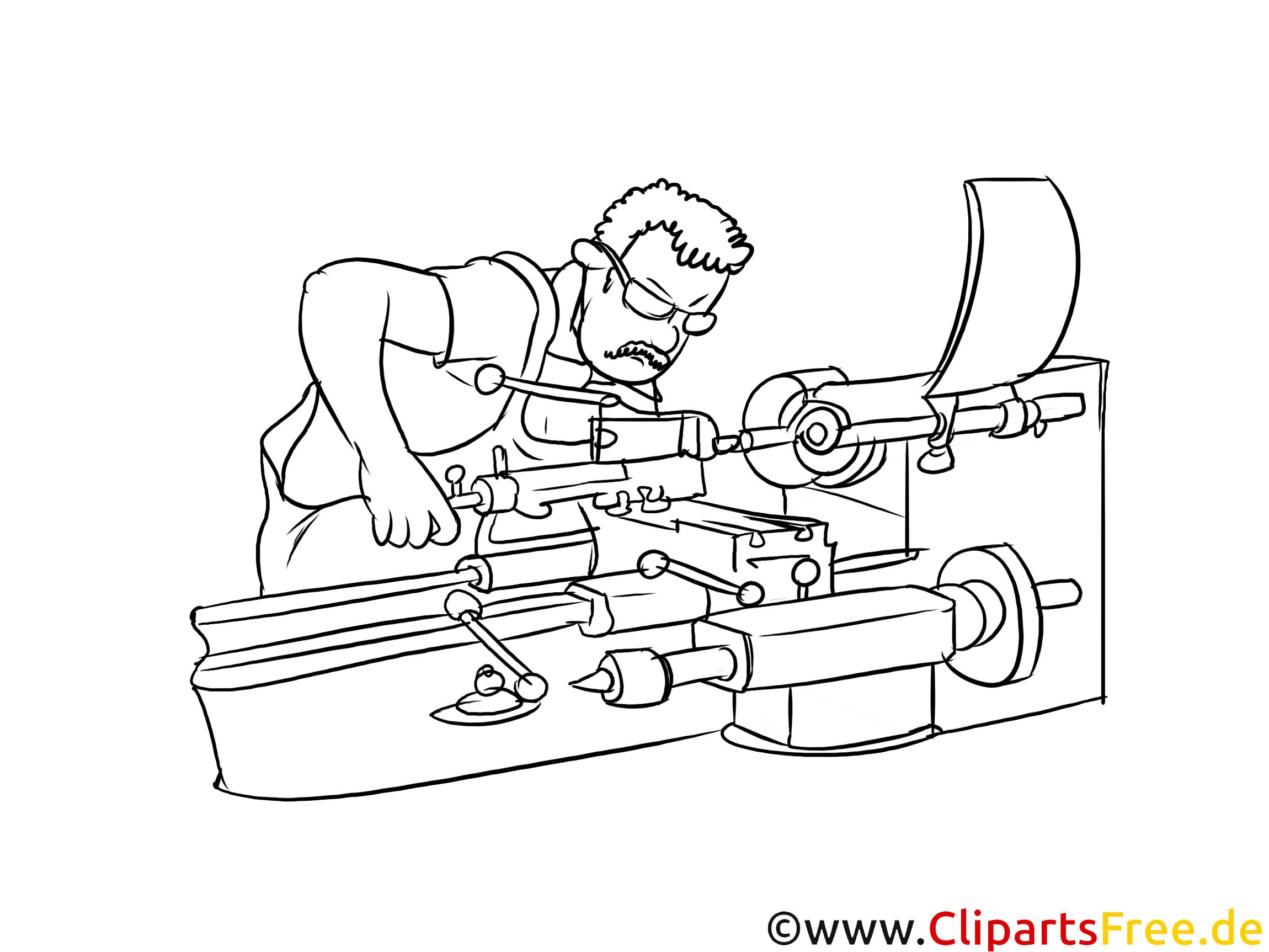 Feinwerkmechaniker Clipart, Grafik, Bild schwarz-weiß