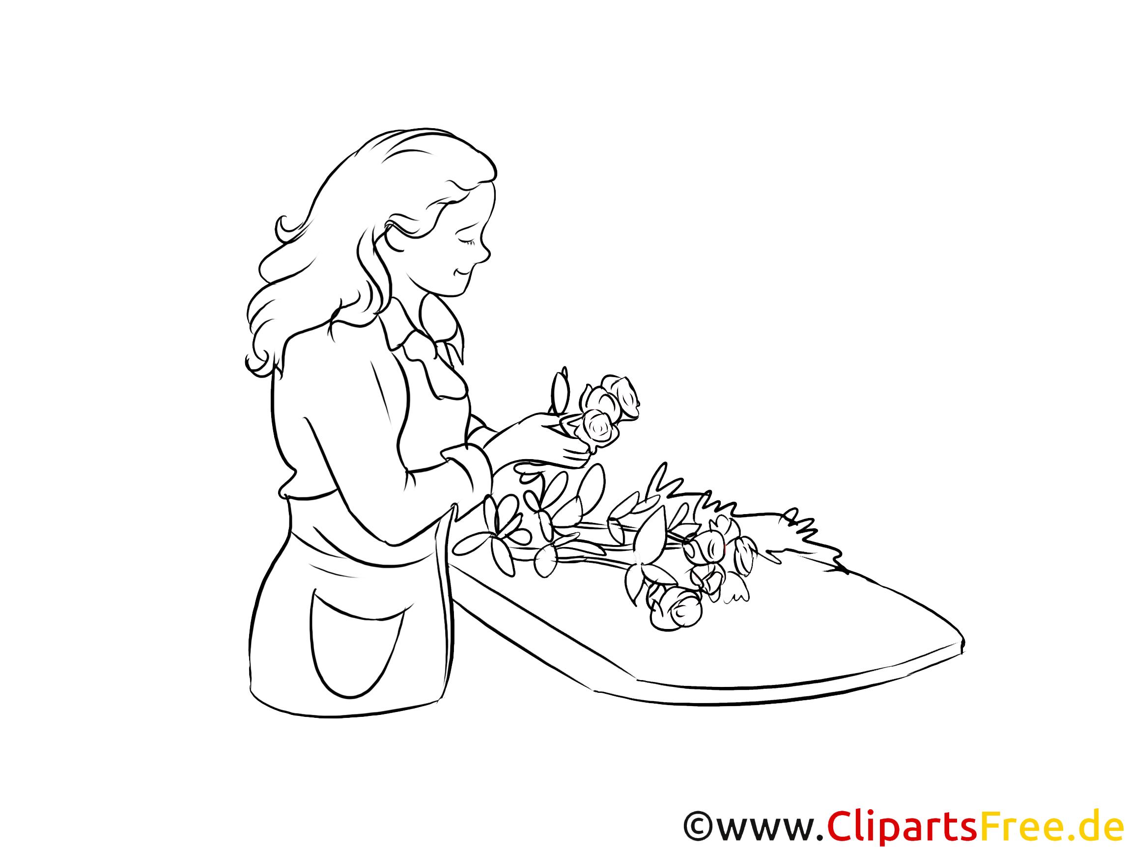 Floristin druckbare schwarz-weiße Cliparts, Grafiken kostenlos