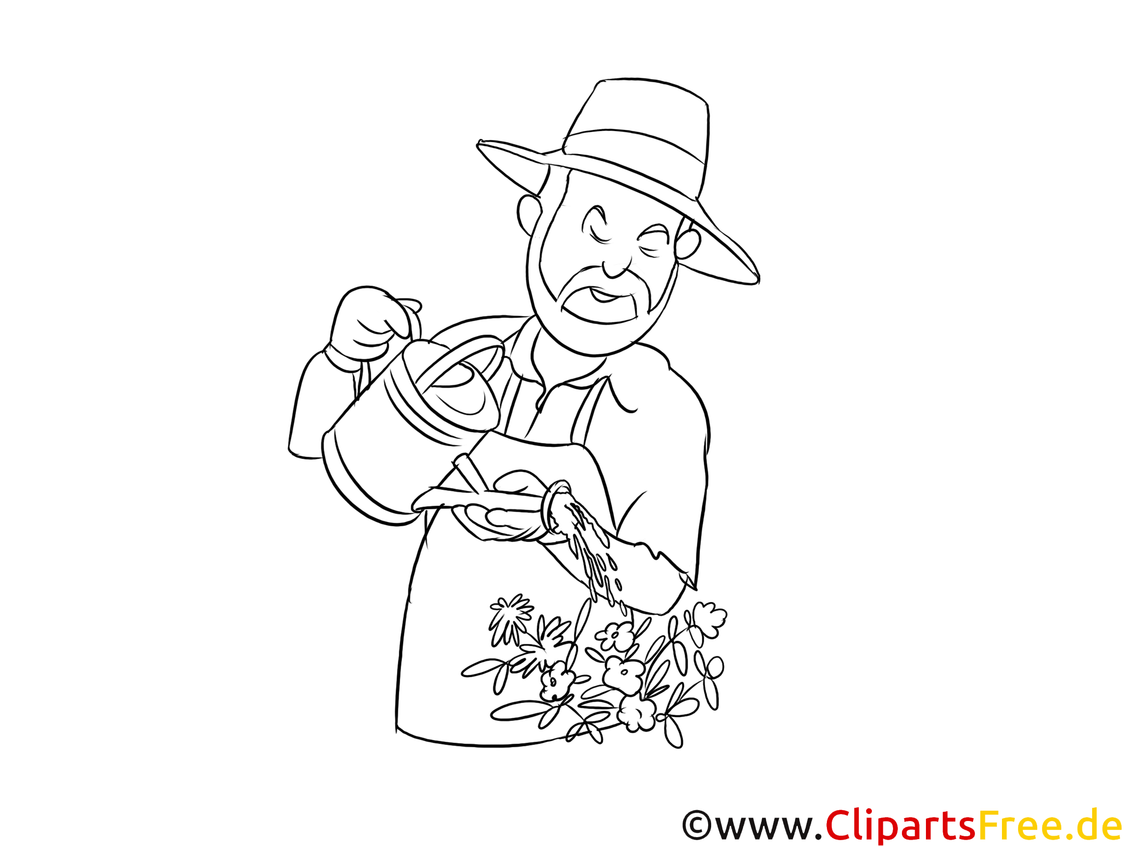 Gärtner Clipart in Schwarz-Weiß kostenlos