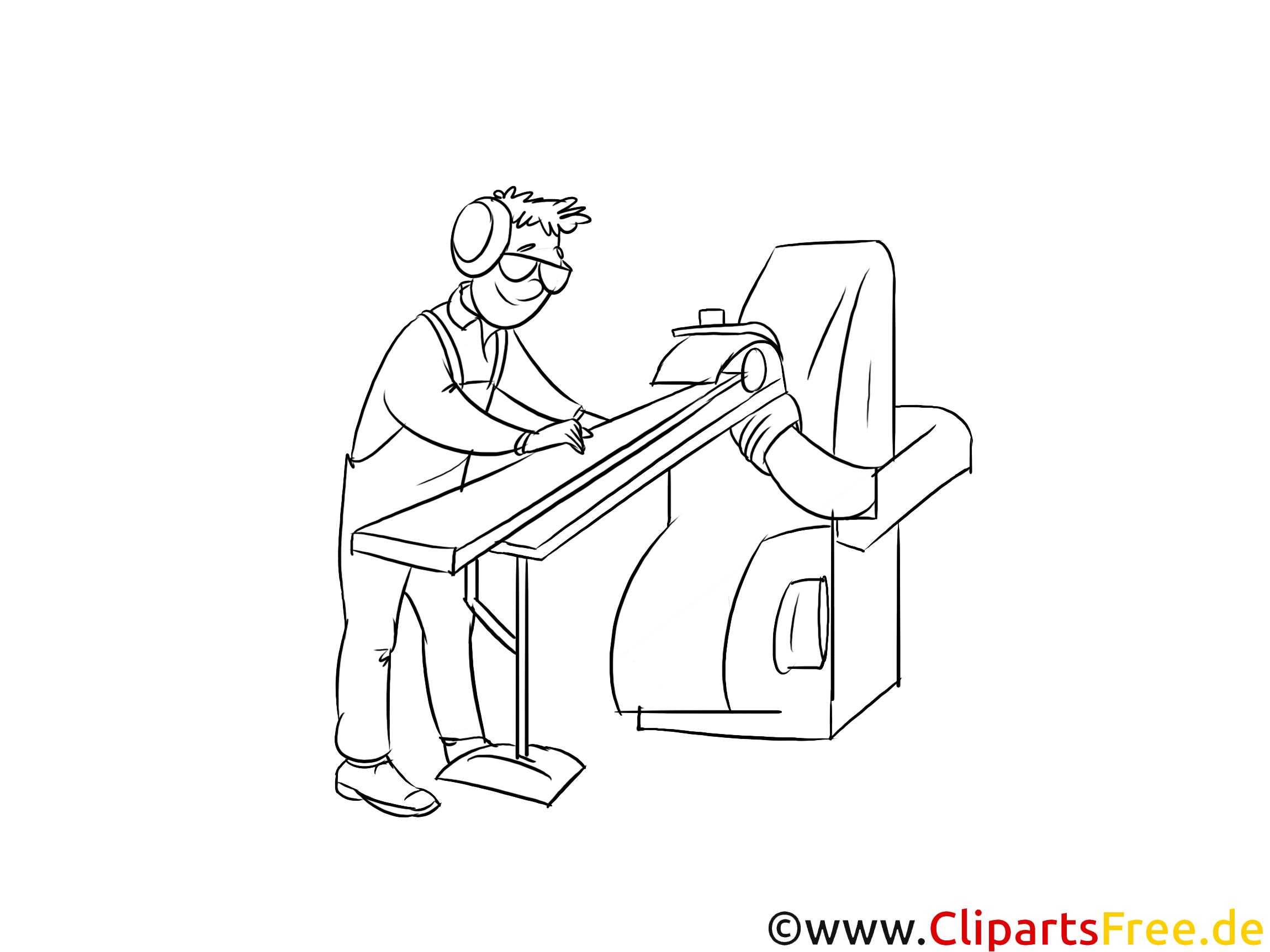 Holzmechaniker Clipart, Grafik, Bild schwarz-weiß