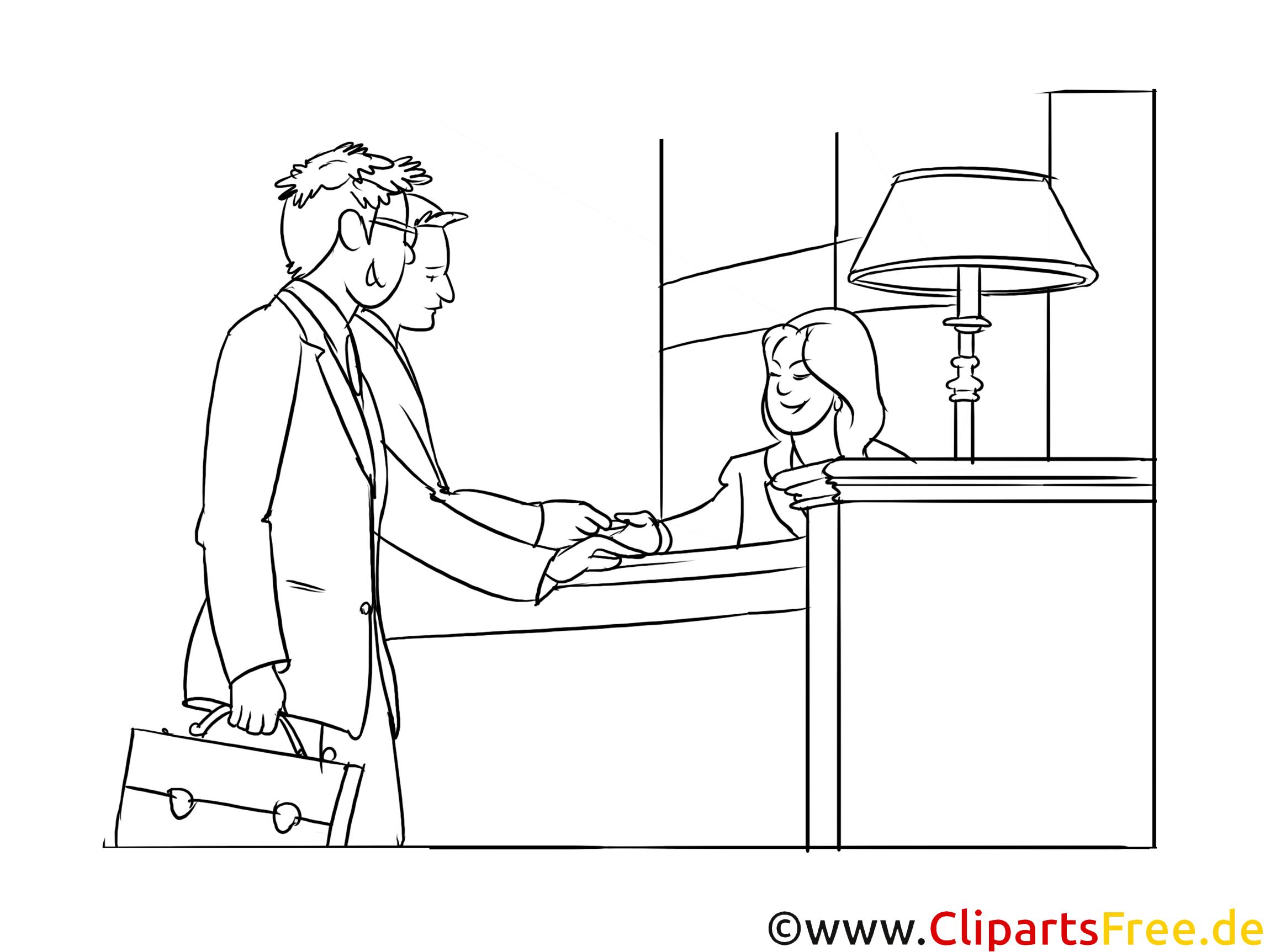 Hotelkaufmann Clipart, Grafik, Bild schwarz-weiß