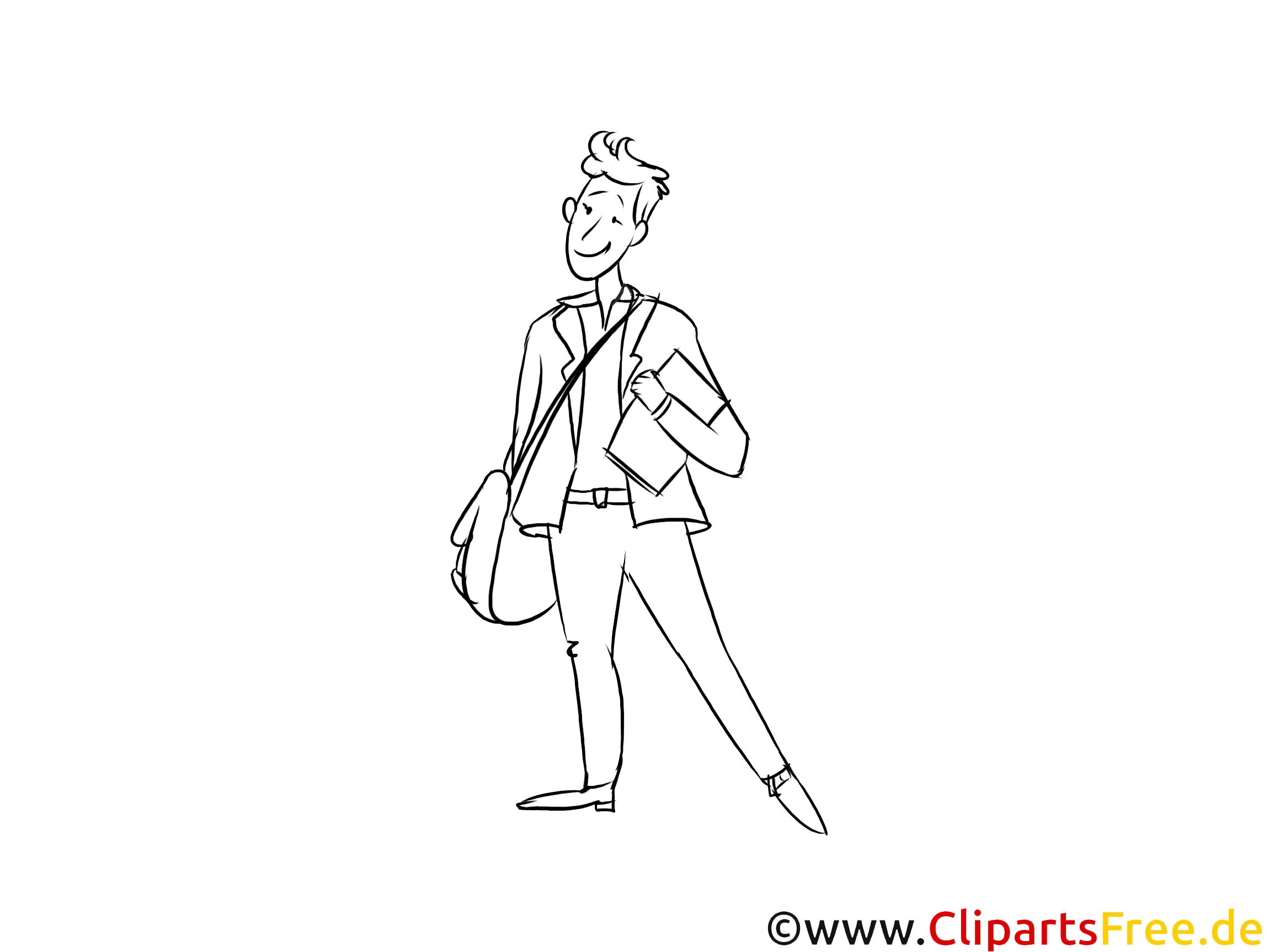 Industriekauffrau -mann Grafik, Bild, Clipart zum Drucken schwarzweiß