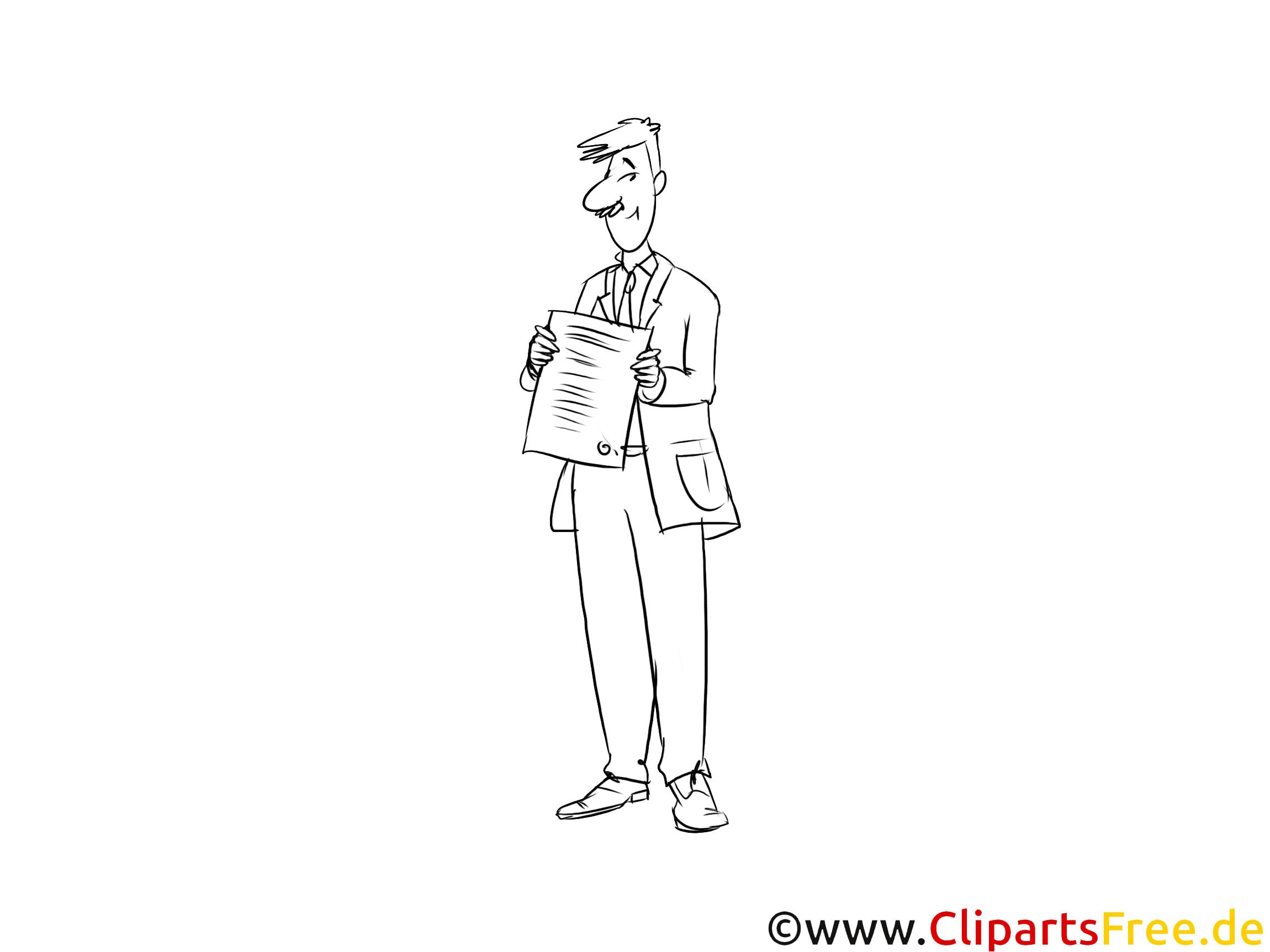 Industriekaufmann Clipart, Grafik, Bild schwarz-weiß