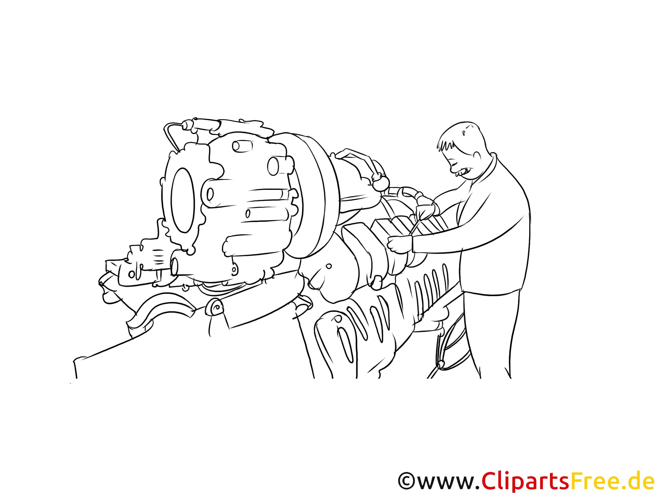 Industriemechaniker Clipart, Grafik, Bild schwarz-weiß