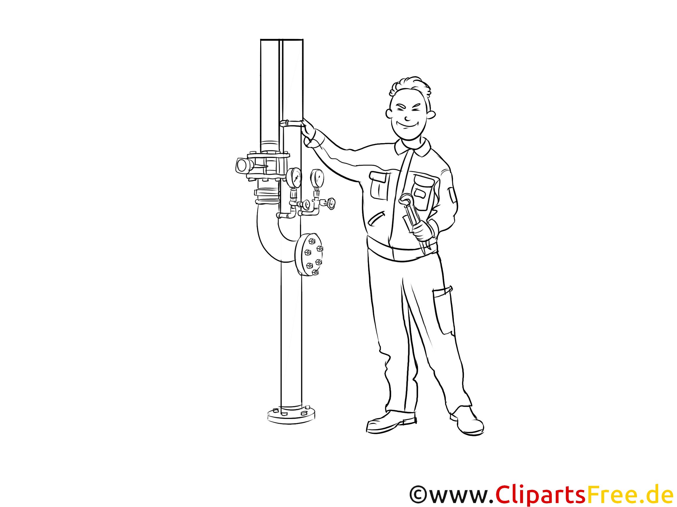 Industriemechaniker druckbare schwarz-weiße Cliparts, Grafiken kostenlos