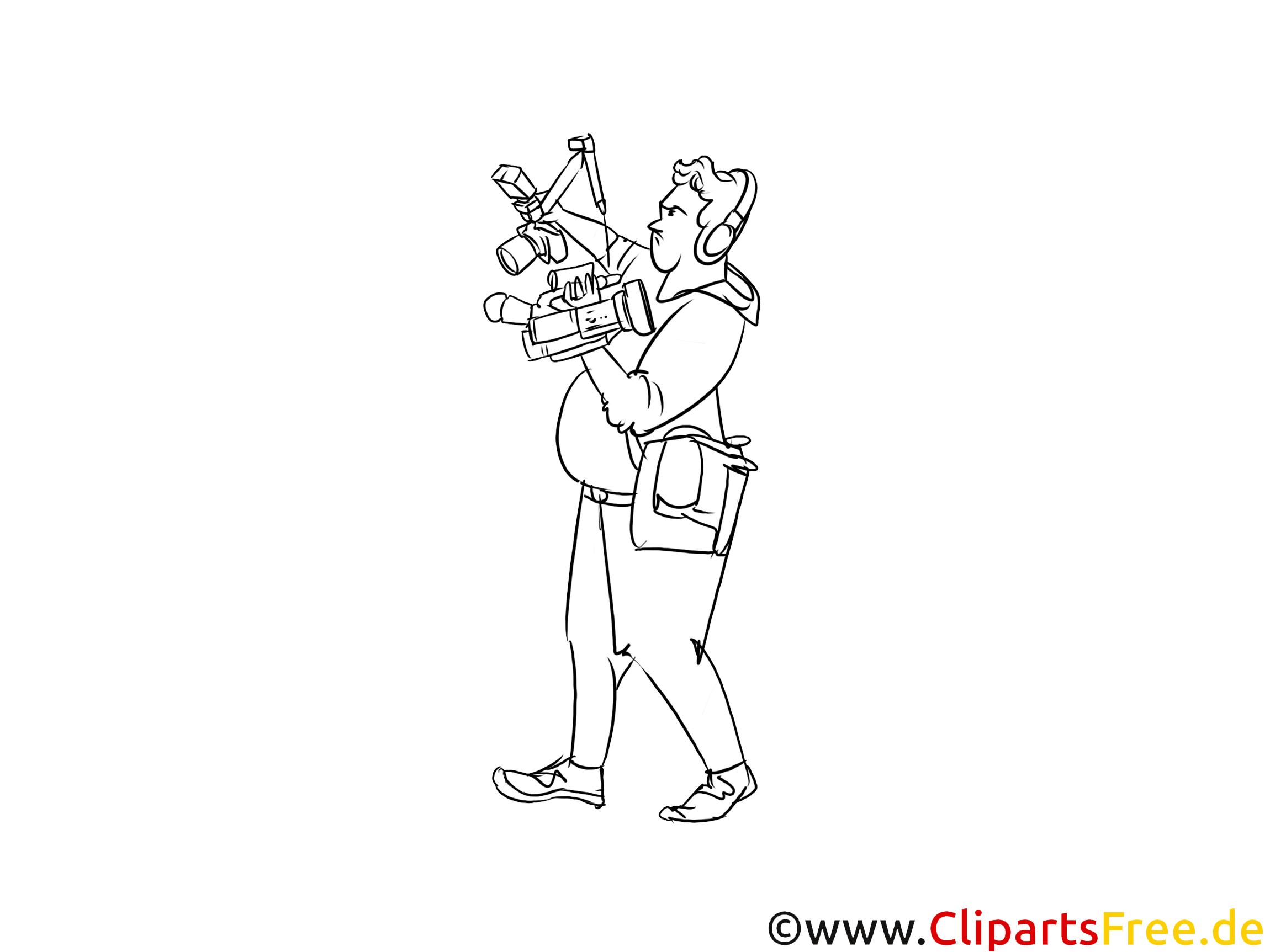 Kameramann Clipart schwarz weiß