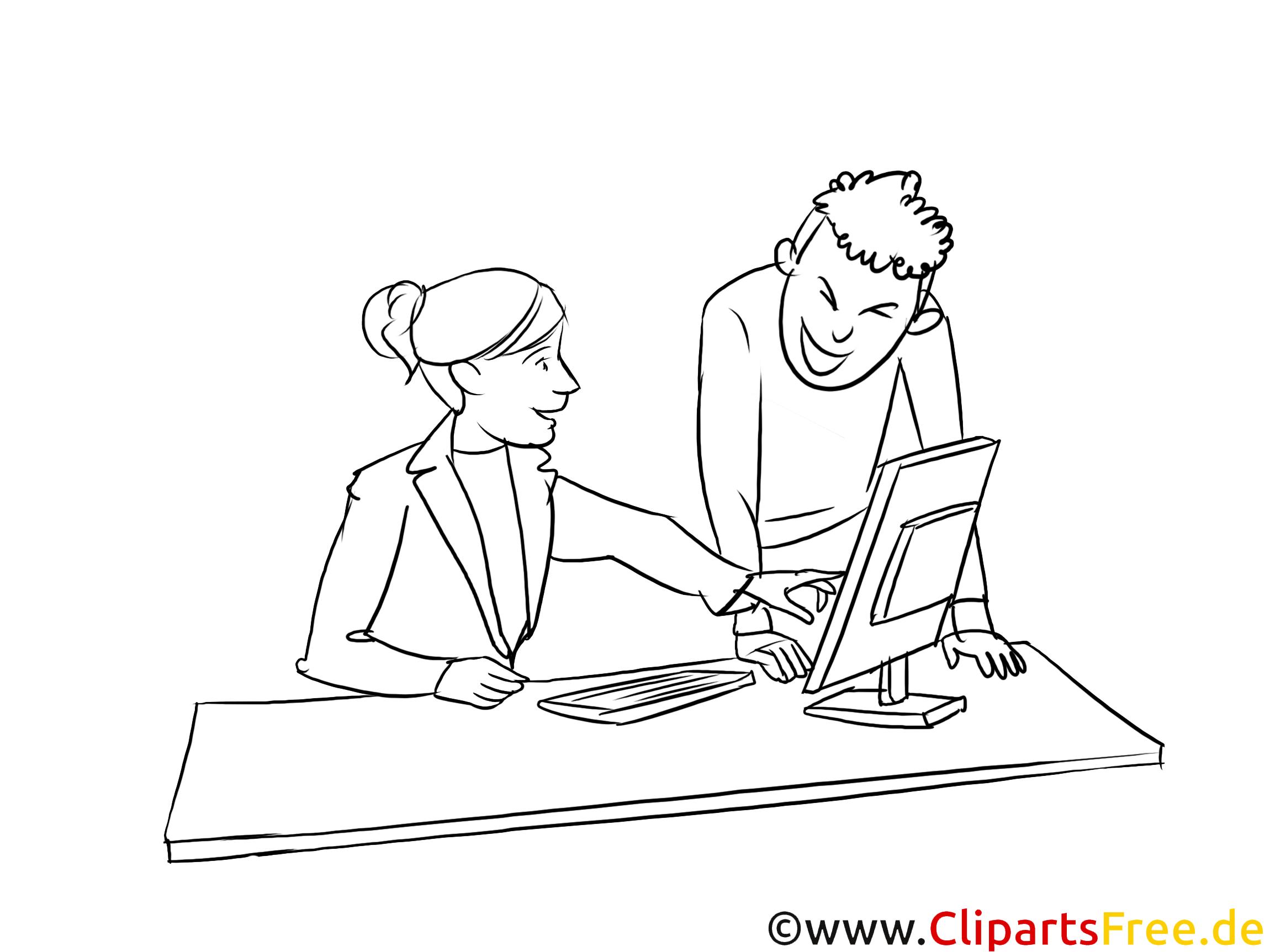 Kauffrau -mann für Büromanagement schwarz-weiß Clipart, Bild, Grafik