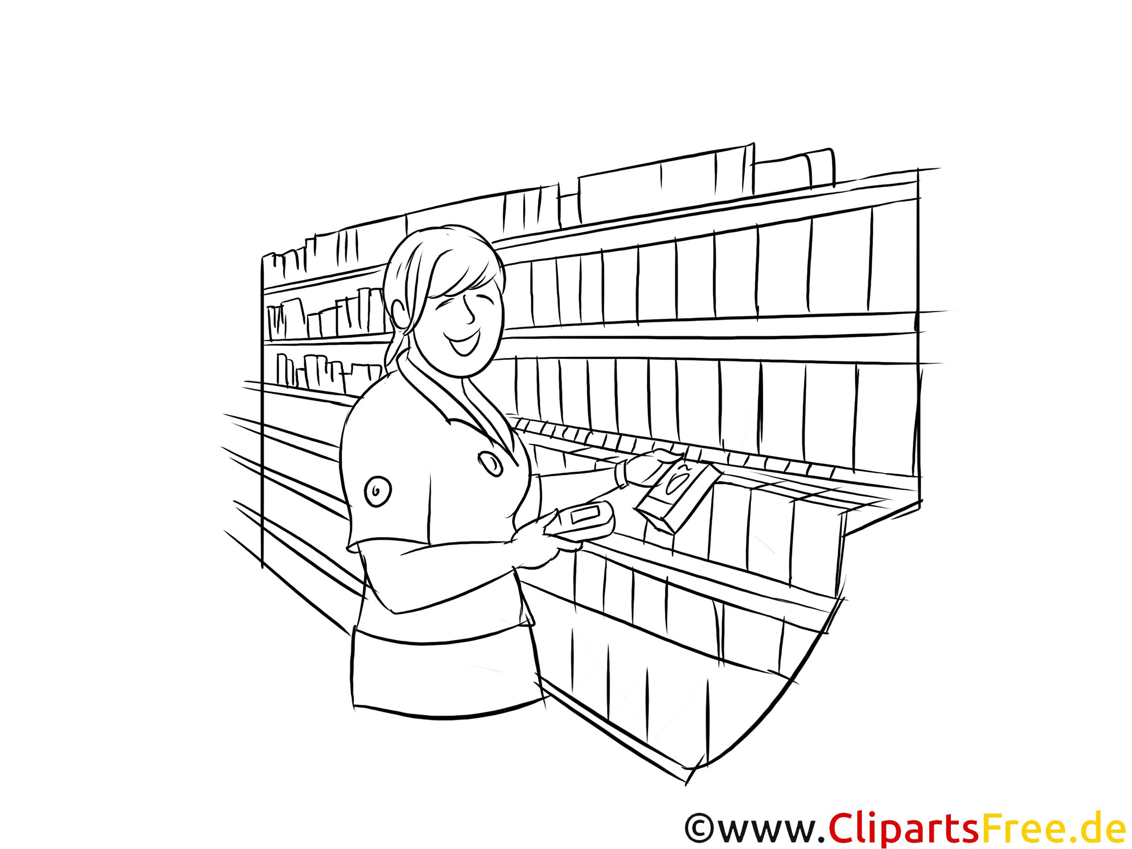 Kaufmann  im Einzelhandel schwarz weiße Strichzeichnungen, Bilder, Cliparts zum Thema Berufe