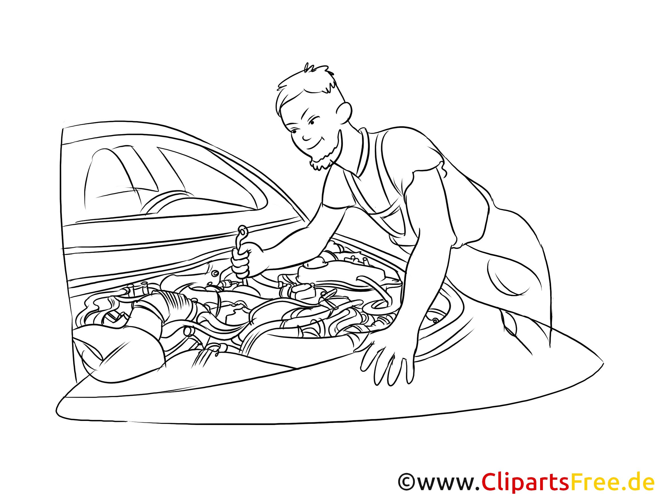Kfz-Mechaniker Clipart, Grafik, Bild schwarz-weiß