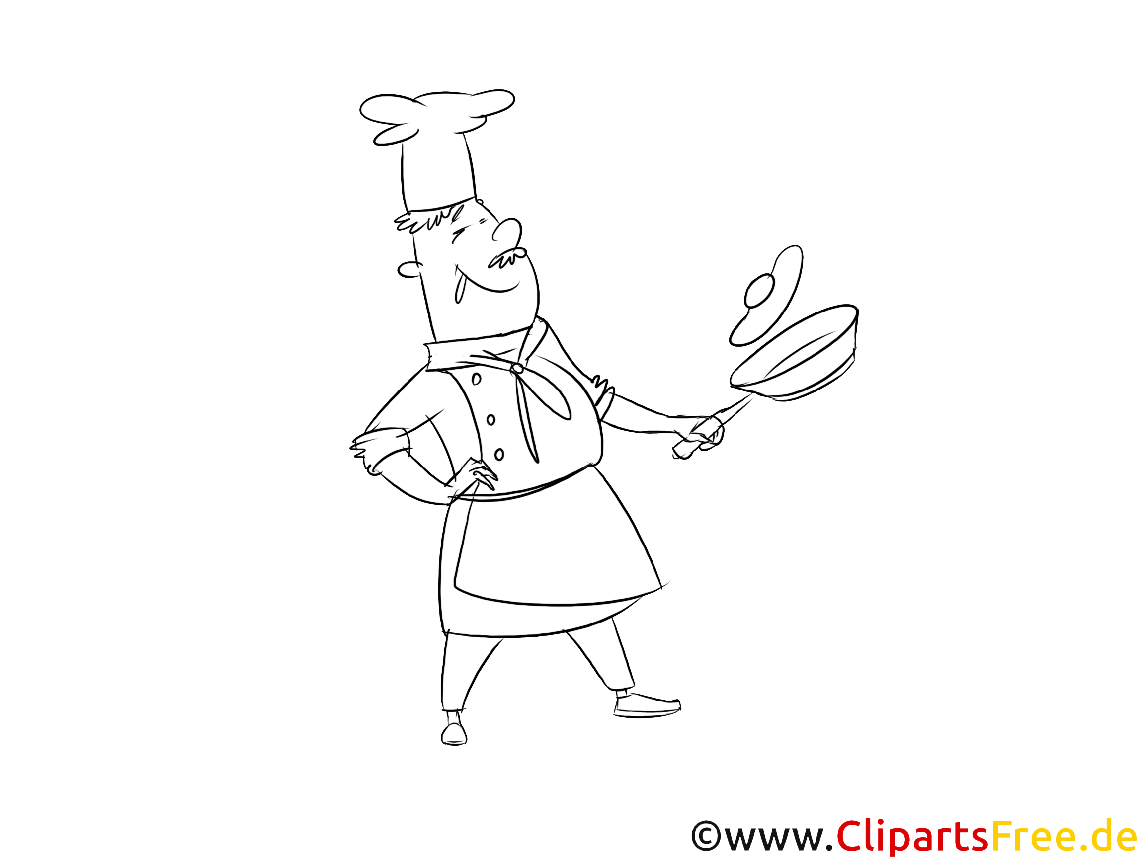 Koch im Restaurant Clipart, Grafik, Bild schwarz-weiß