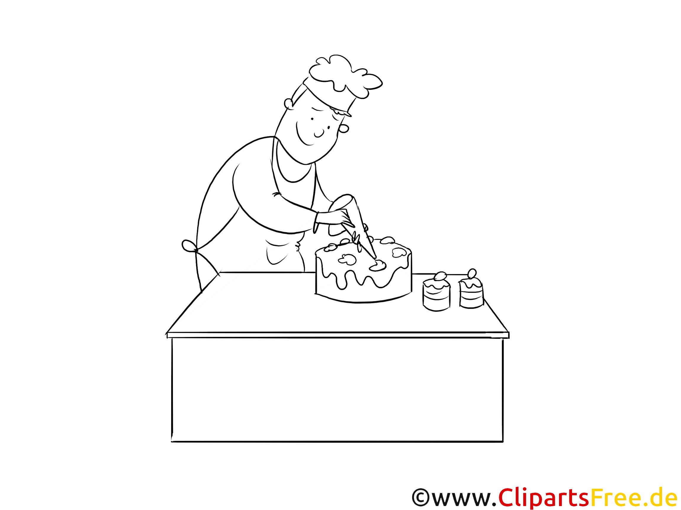 Konditor schwarz weiß Clipart
