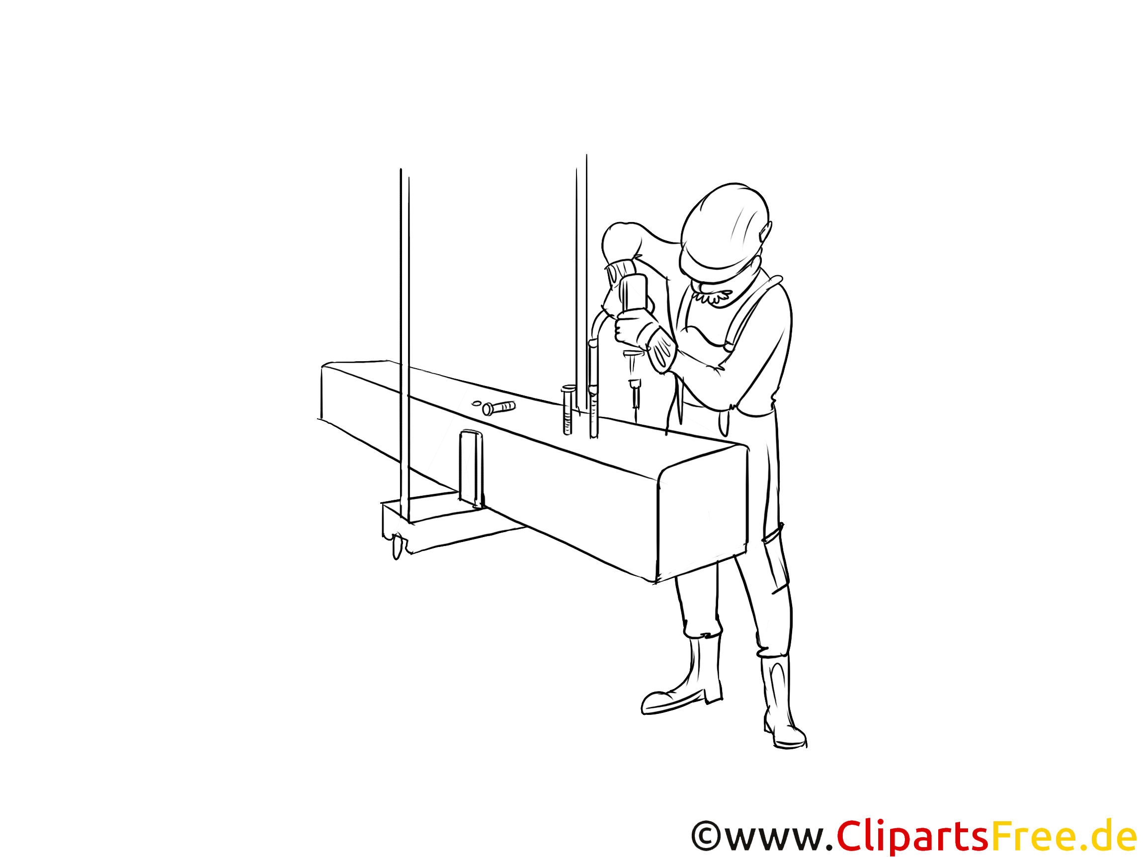Konstruktionsmechaniker Clipart schwarz weiß zum Thema Ausbildungsberufe