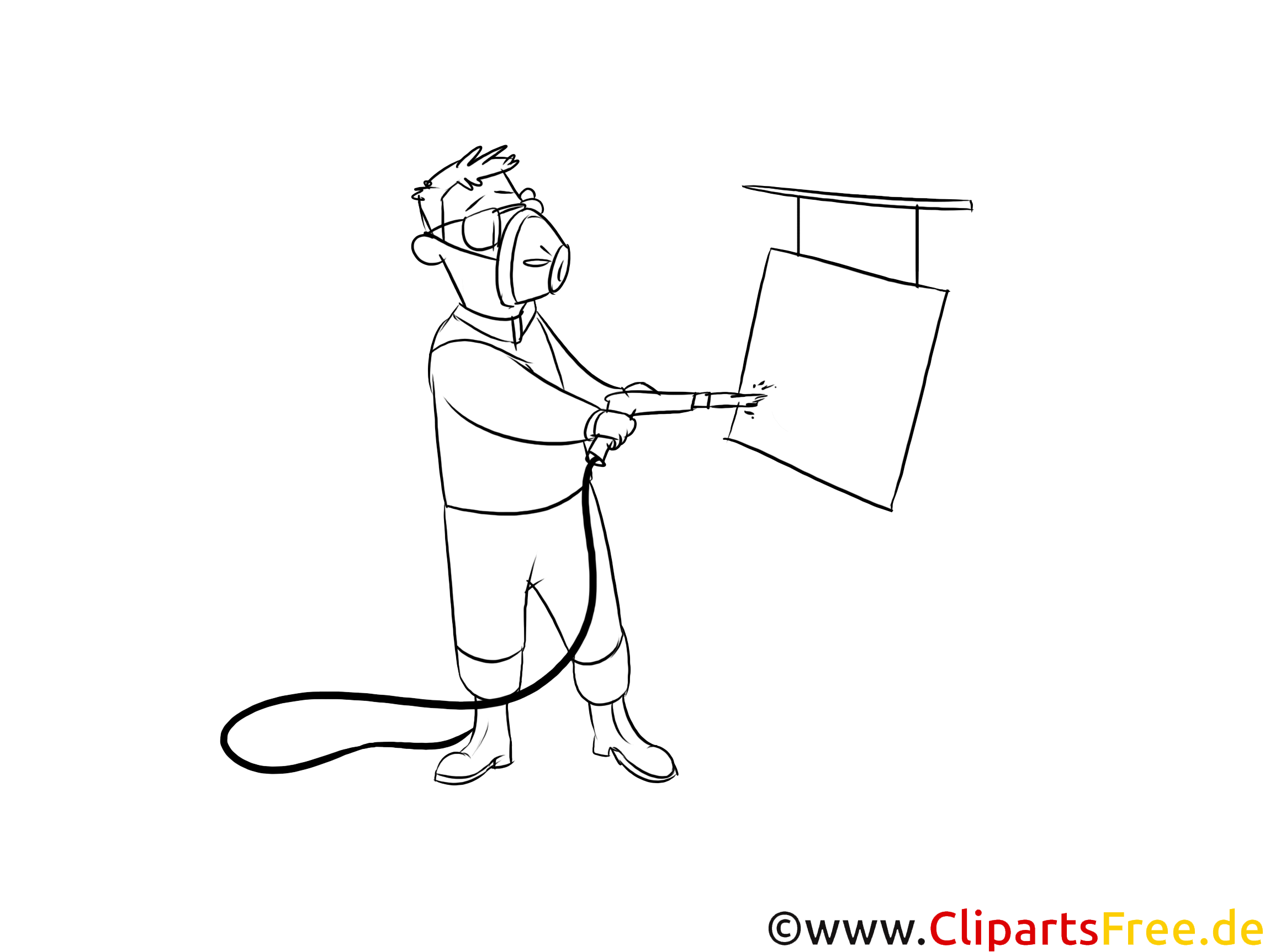 Lackierer Clipart schwarz weiß