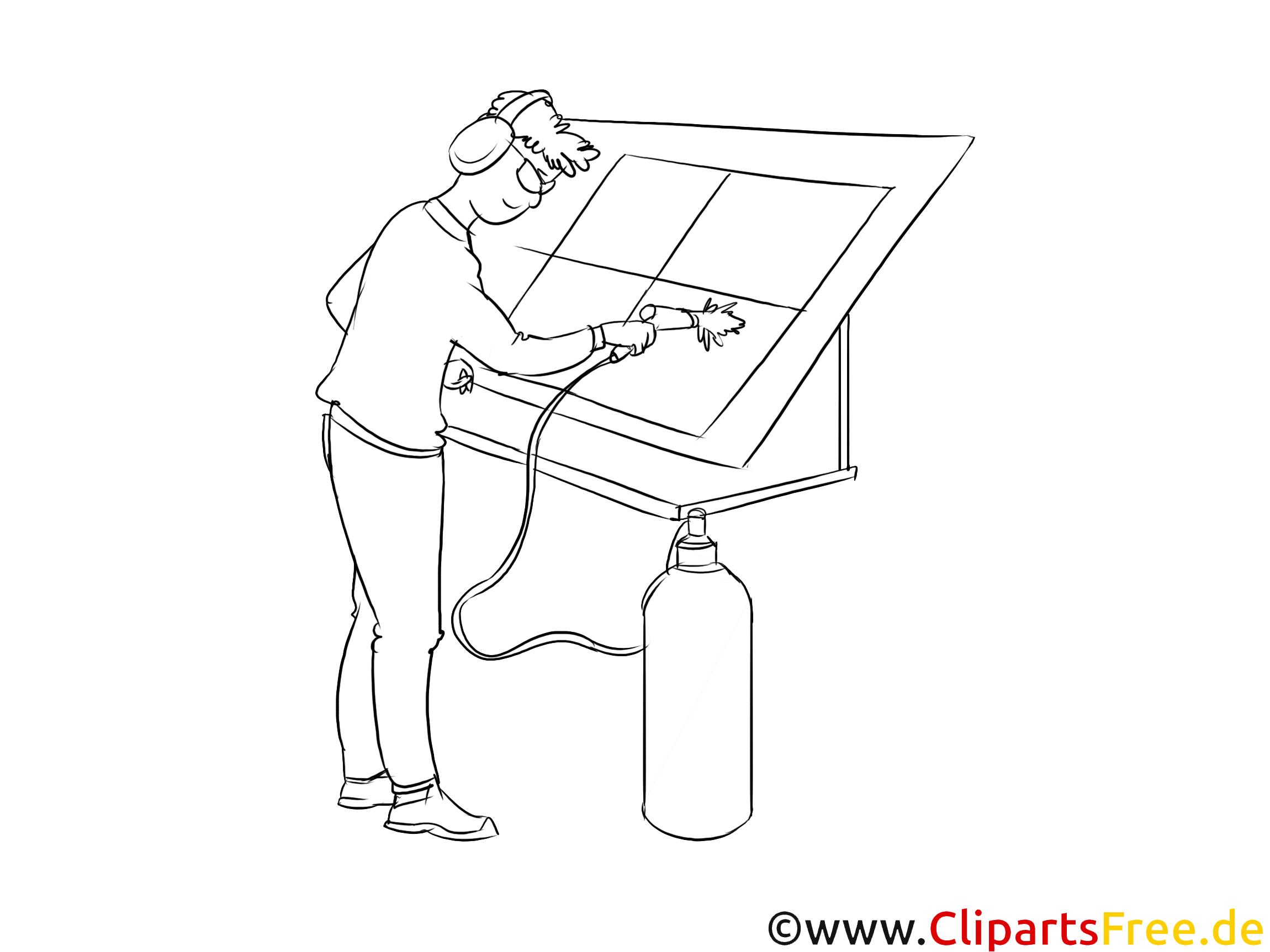 Lackierer schwarz-weiß Clipart, Bild, Grafik