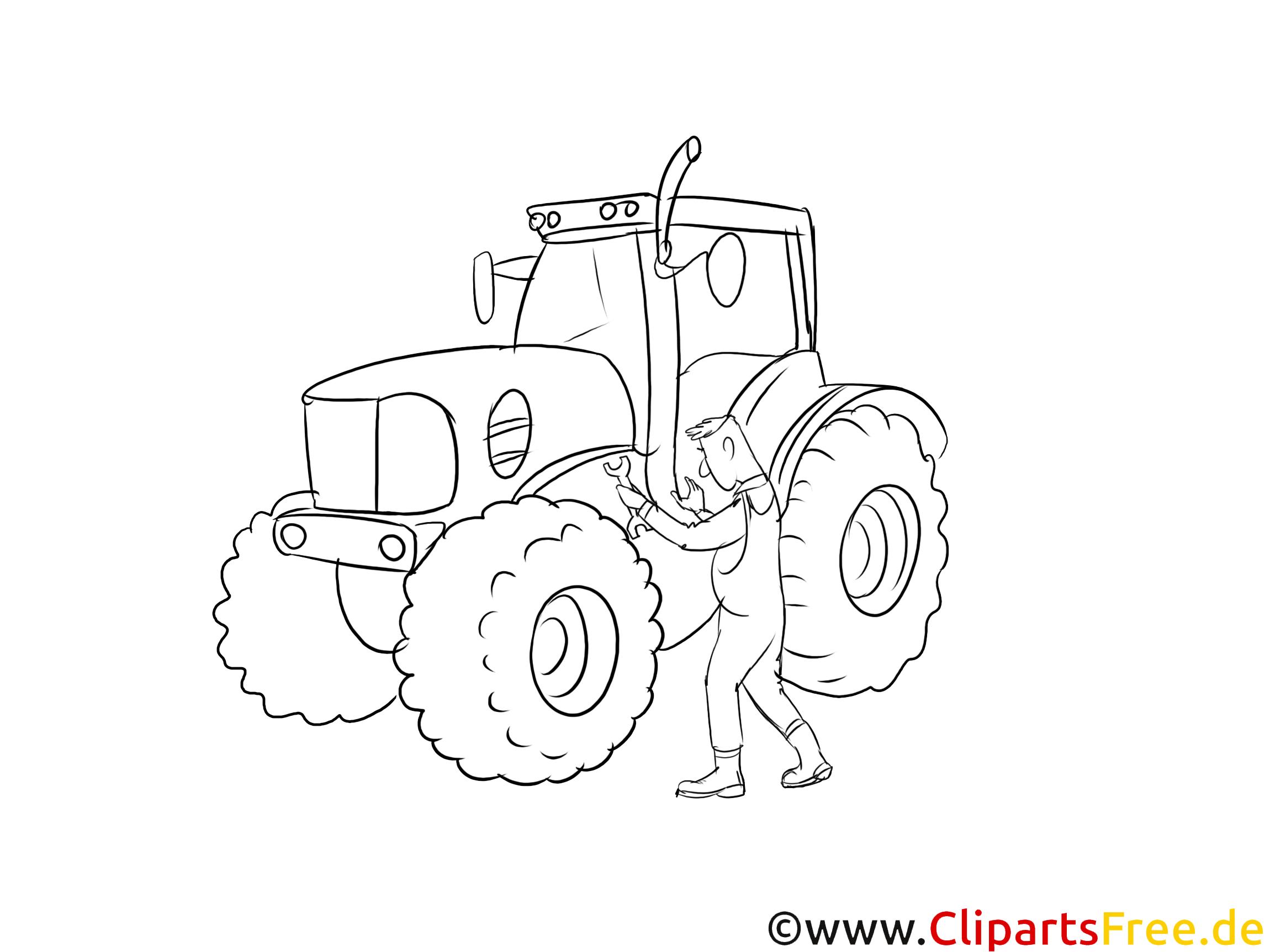 Land- und Baumaschinenmechatroniker Clipart, Grafik, Bild schwarz-weiß