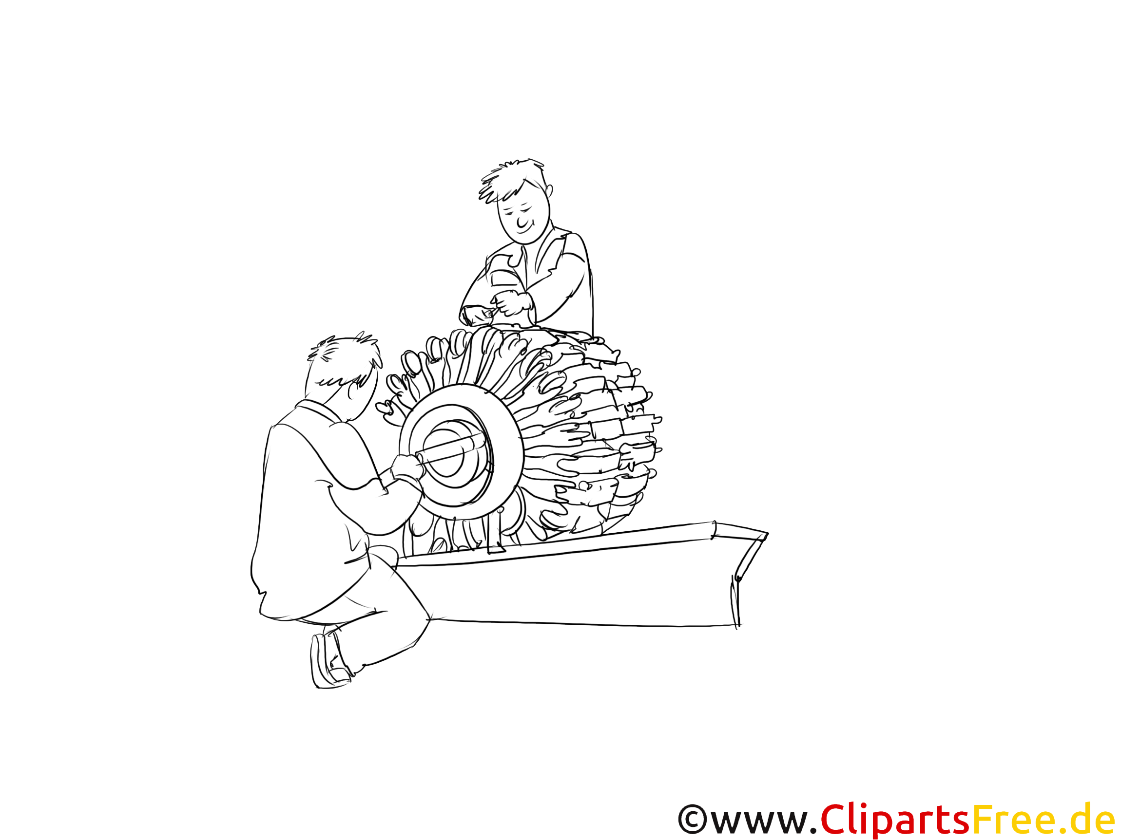 Maschinen- und Anlagenführer Clipart, Bild, Illustration schwarz-weiß