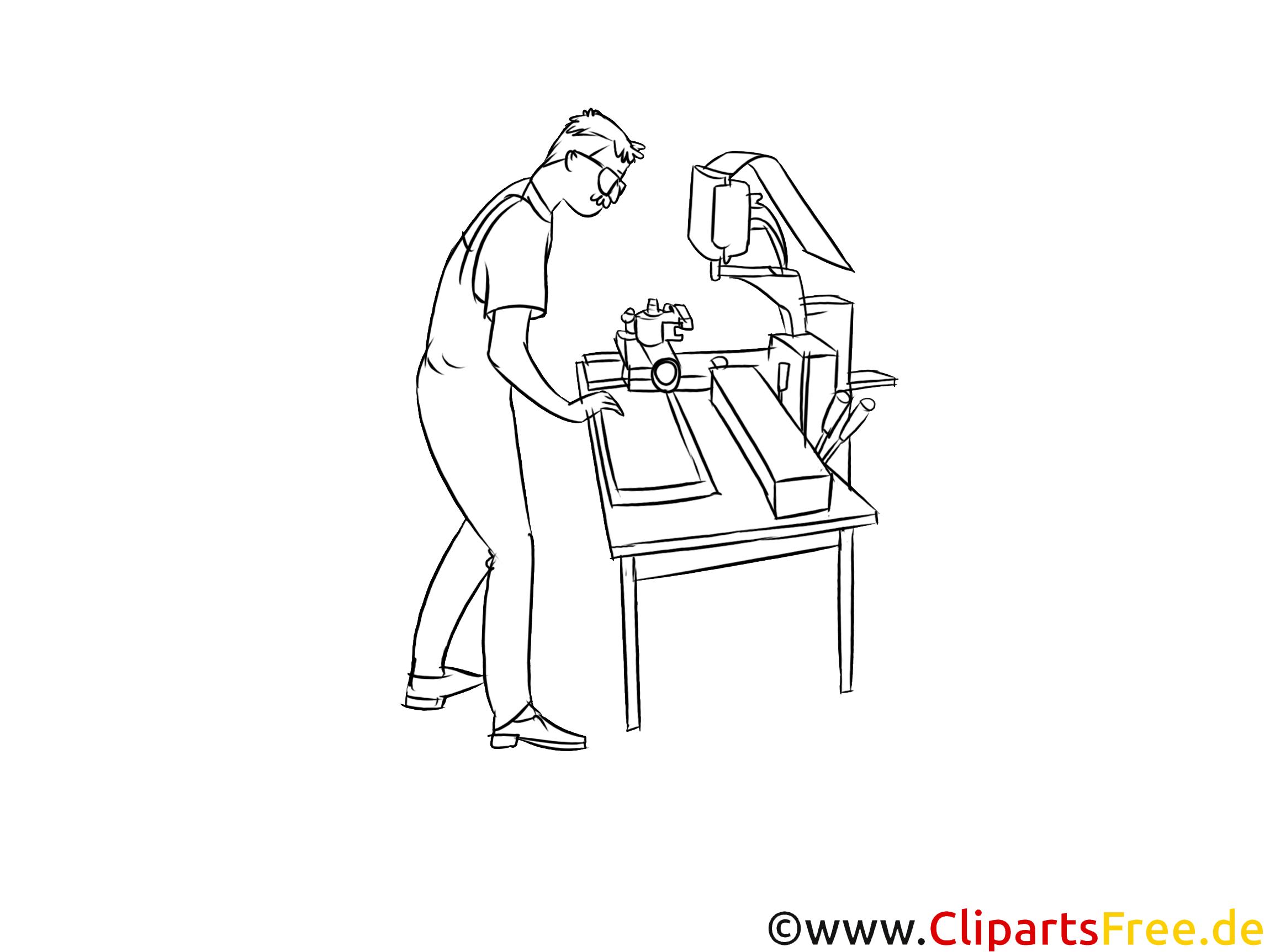 Produktionsmechaniker schwarz weiß Clipart