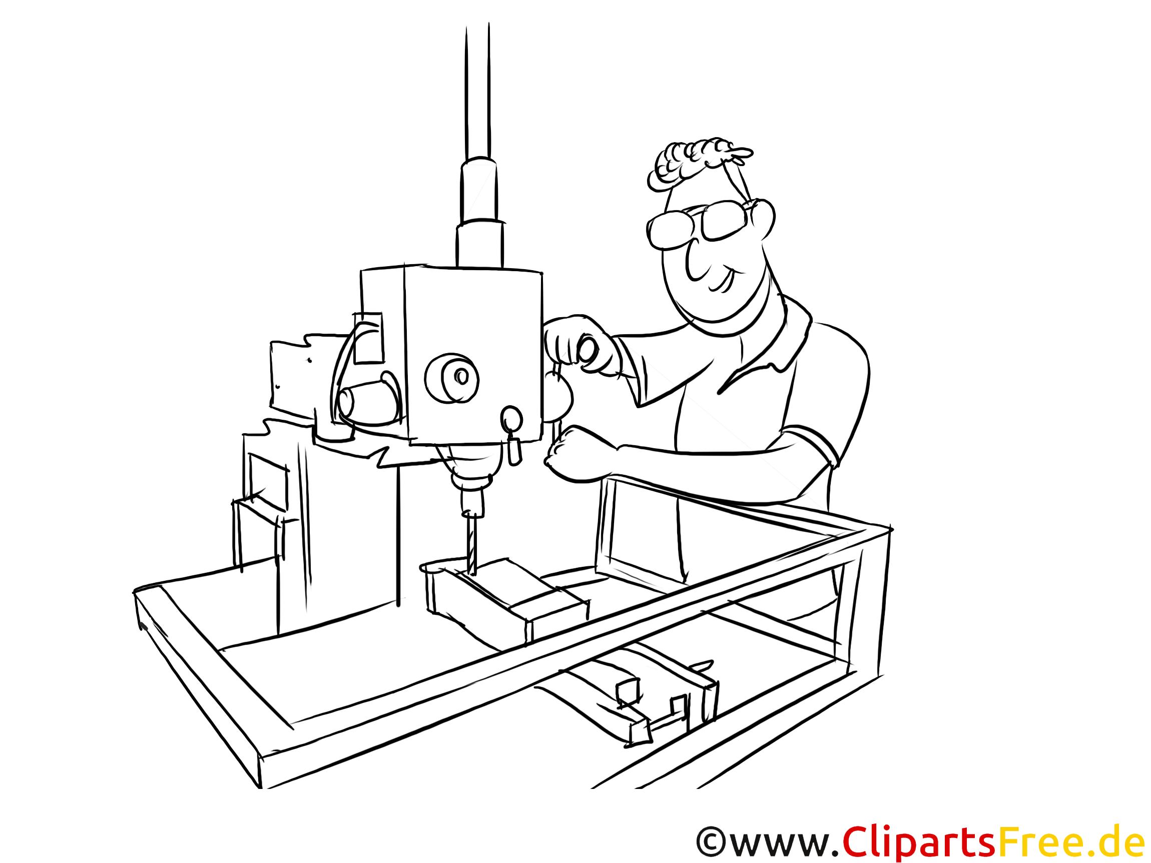 Produktionstechnologe schwarz-weiße Cliparts, Bilder, Grafiken