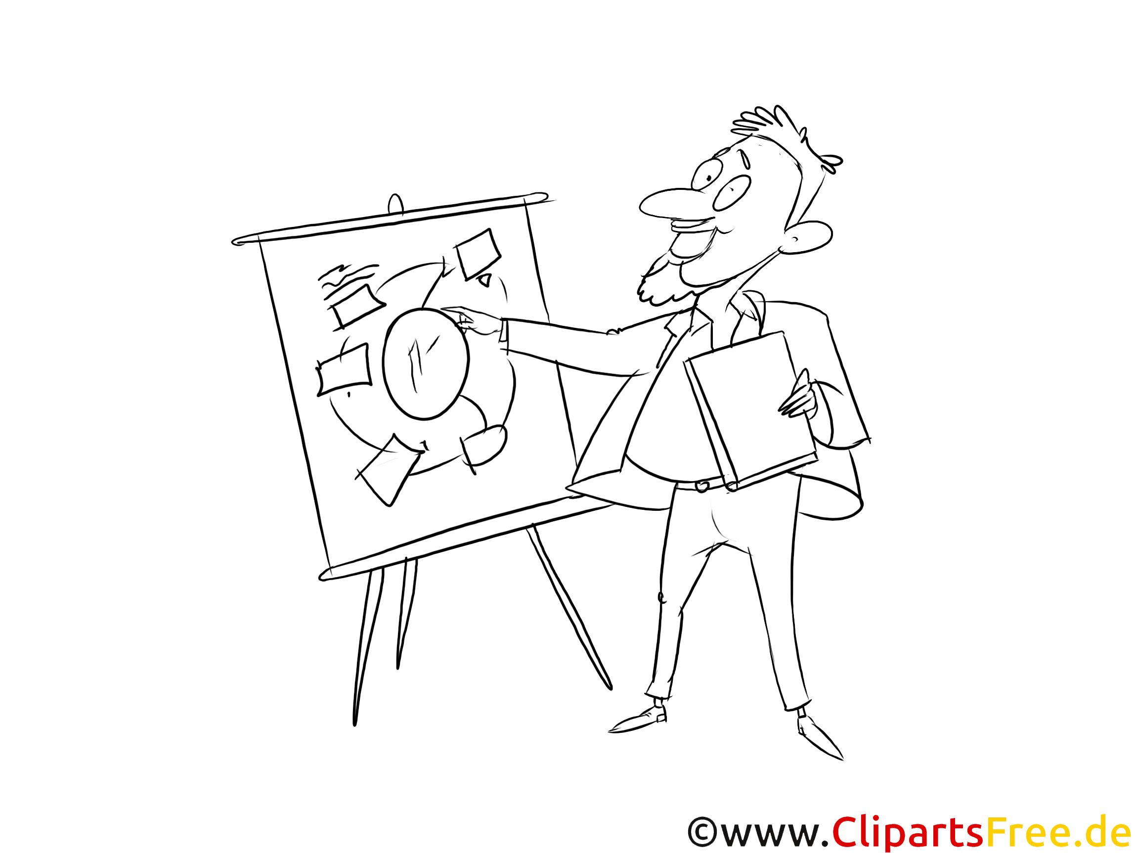 Prozessberater schwarz-weiß Clipart, Bild, Grafik